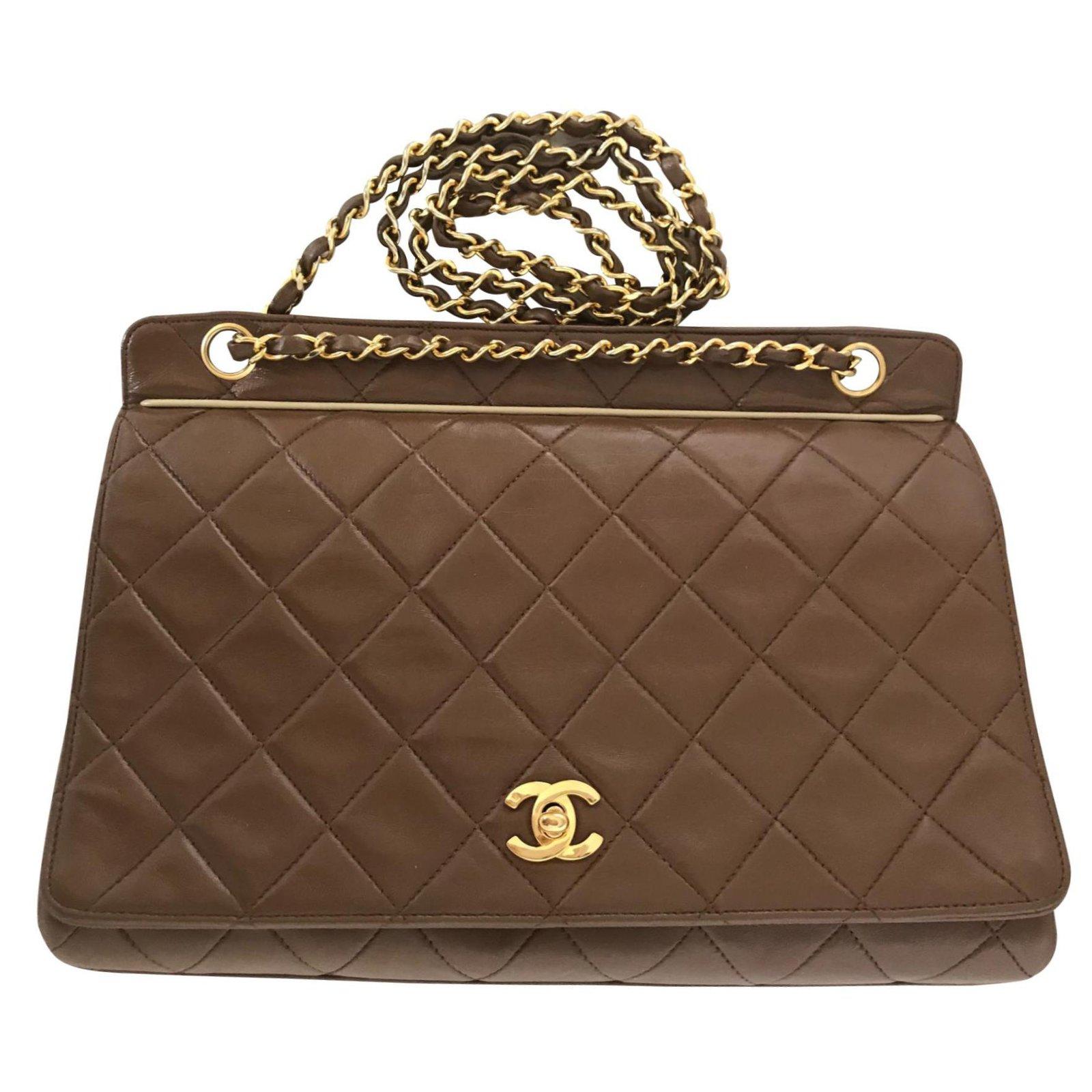 575c7420f136f2 Chanel Handbag Handbags Lambskin Caramel ref.103996 - Joli Closet
