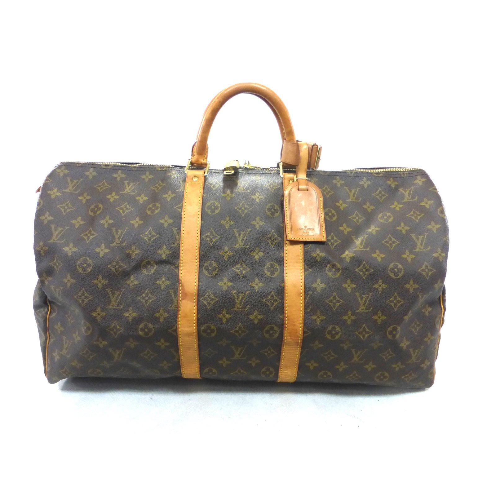 ef6643533e175 Louis Vuitton keepall 55 Monogram Travel bag Leather Brown ref.104030