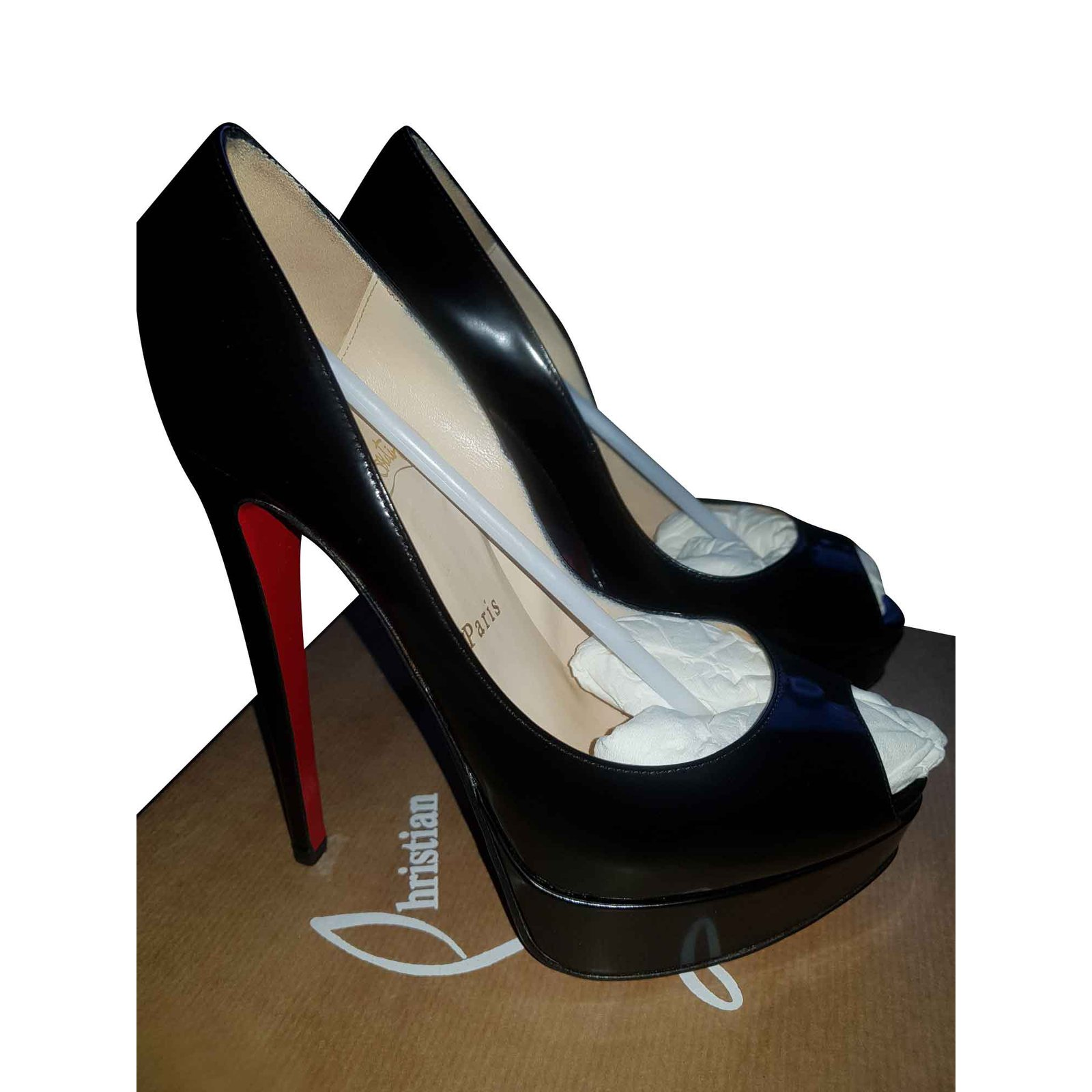 c4a893908271 Christian Louboutin Lady peep 150 patent calf Heels Patent leather Black  ref.104244