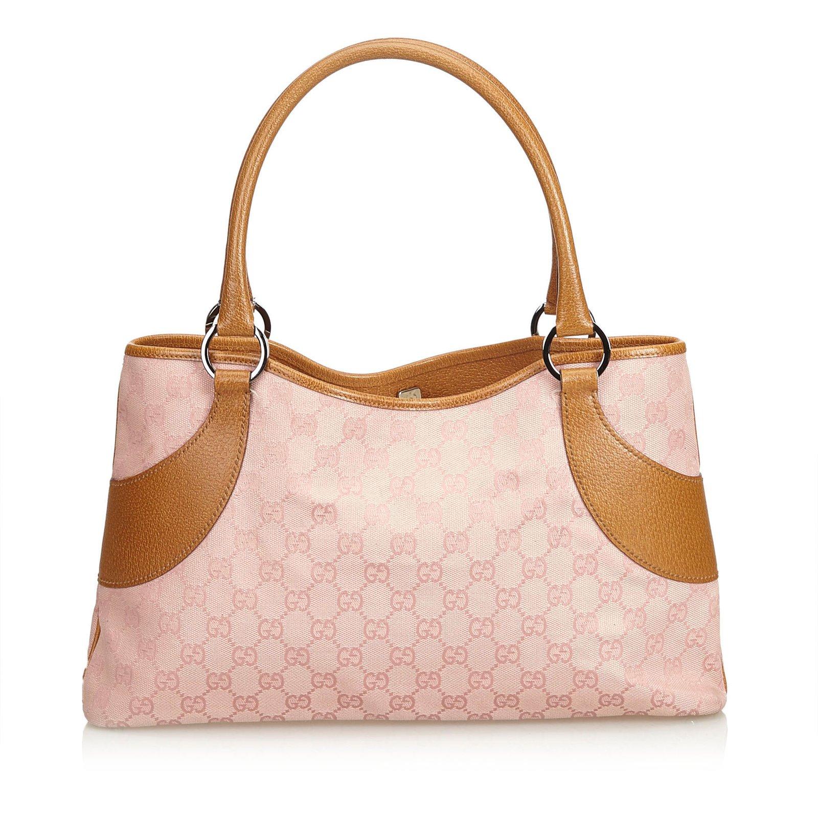 348bedd40 Gucci GG Jacquard Handbag Handbags Leather,Other,Cloth Brown,Pink ref.104594