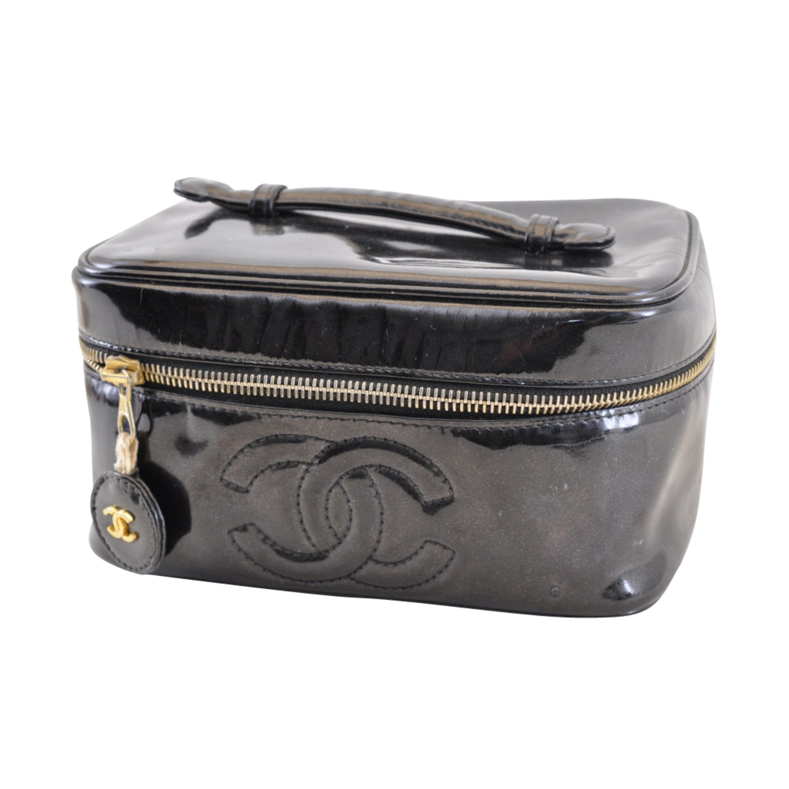 981cf7cc1ef9f0 Chanel Vanity Cosmetic Pouch Handbags Patent leather Black ref.104668