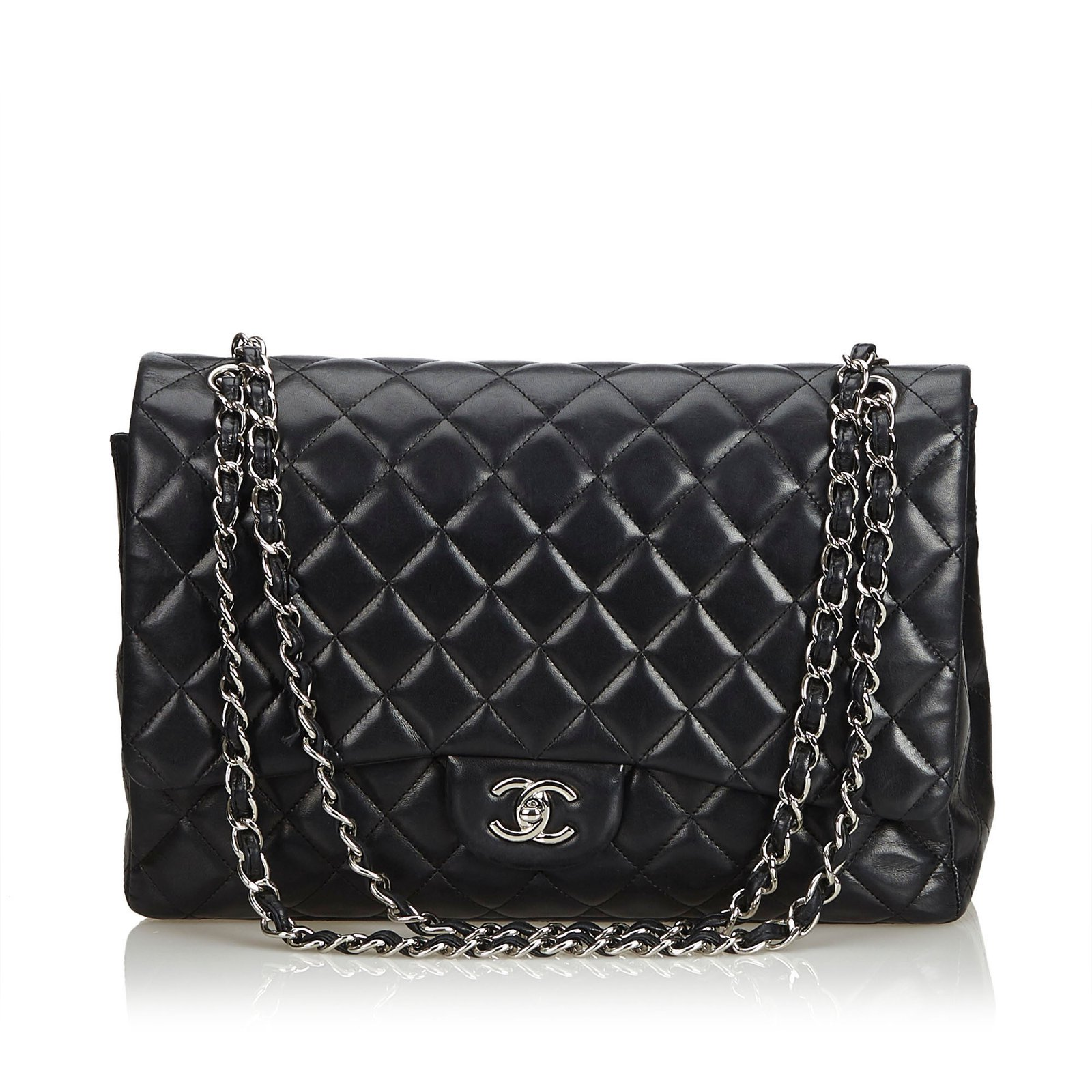 c43bd0a673dd13 Chanel Classic Maxi Lambskin Leather Single Flap Bag Handbags Leather Black  ref.104832