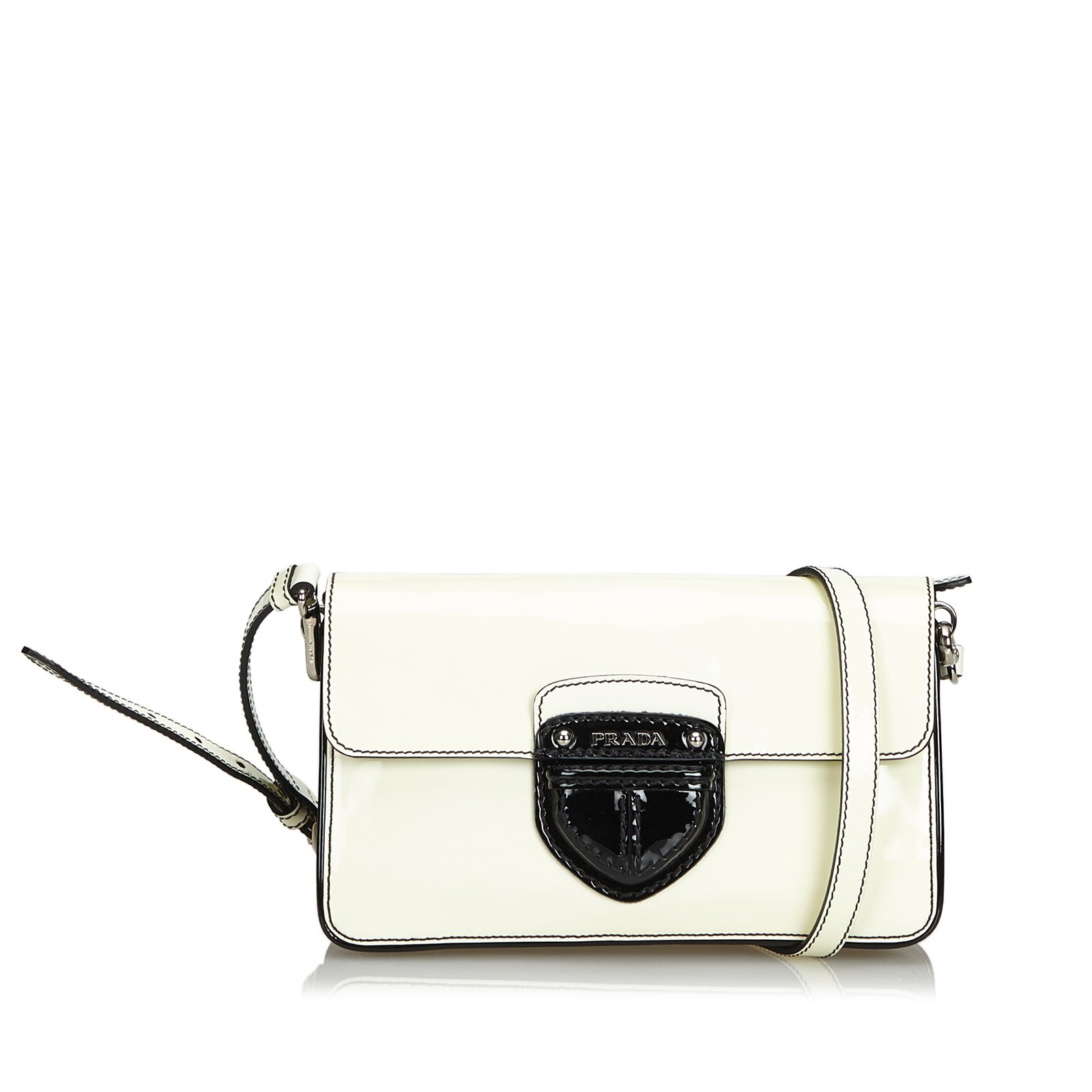 a0d8983b34e388 Prada Patent Leather Crossbody Bag Handbags Leather,Patent leather  Black,White ref.104845
