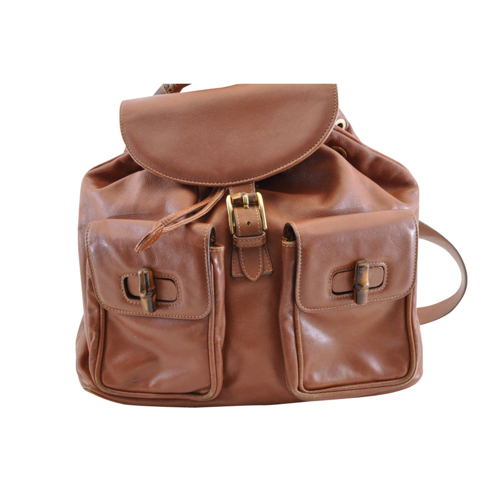 694891aee07d78 Gucci Gucci Bamboo Backpack Handbags Leather Brown ref.105009 - Joli ...