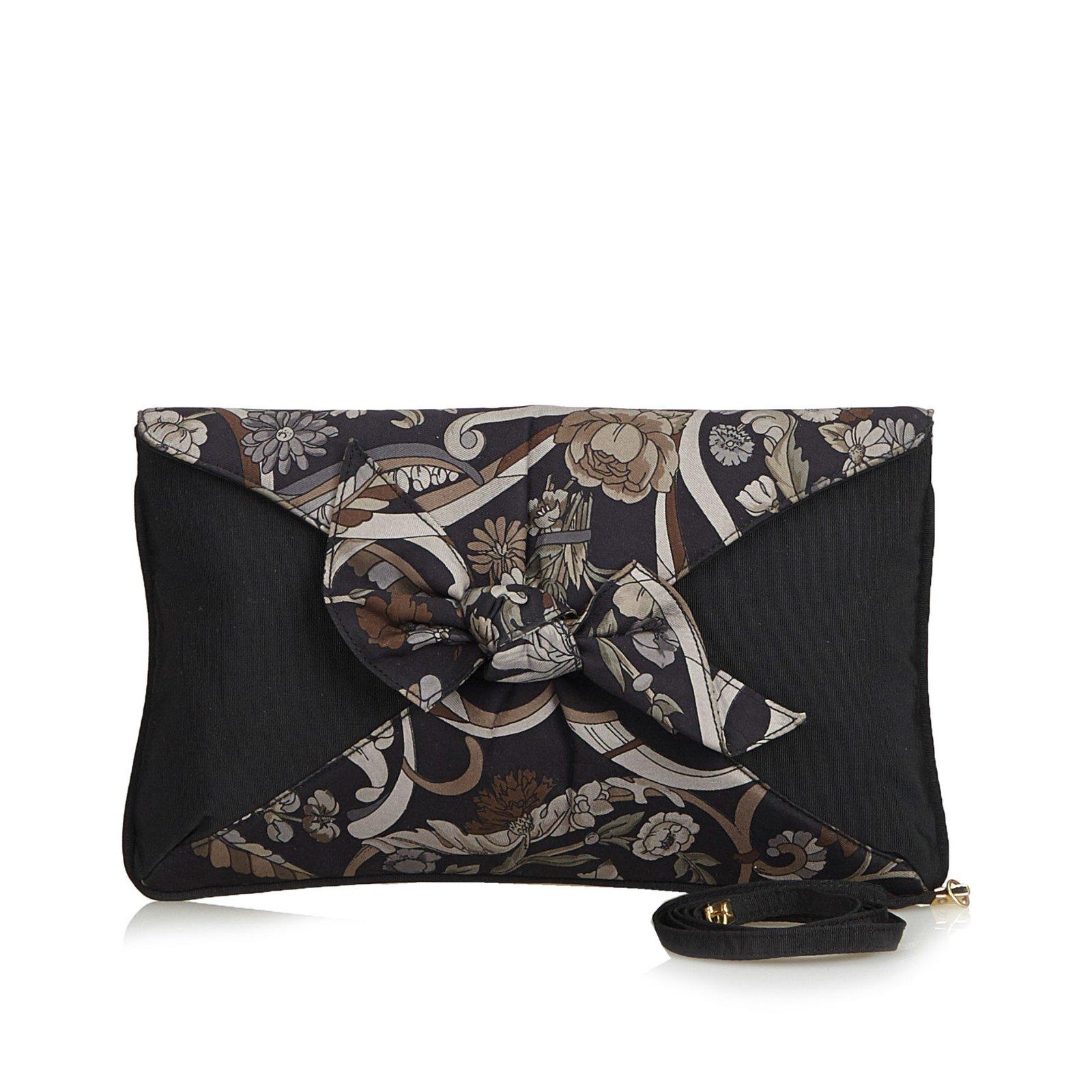 Pochettes Gucci Pochette en nylon à imprimé floral nylon,Tissu  Marron,Autre,Gris b1dd6e57a84