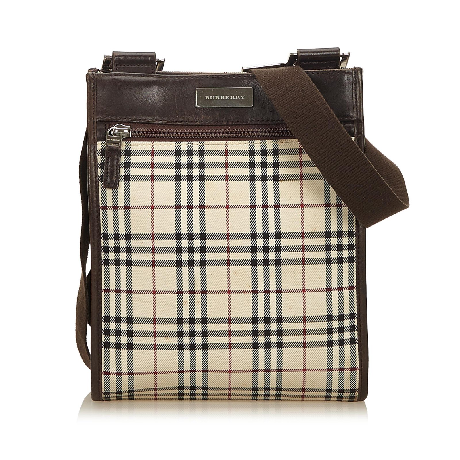 1ce9fd9650b0 Burberry Plaid Coated Canvas Crossbody Bag Handbags Leather