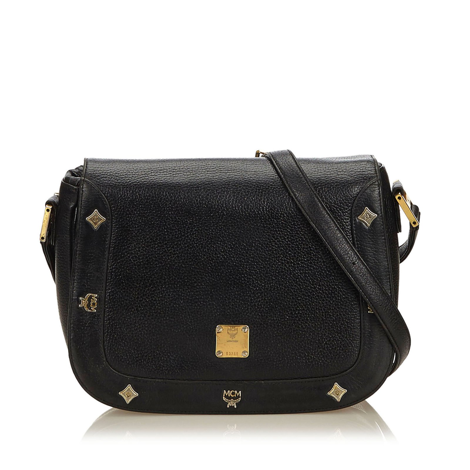 9057e4a6fbdc MCM Leather Crossbody Bag Handbags Leather,Other Black ref.99787 ...