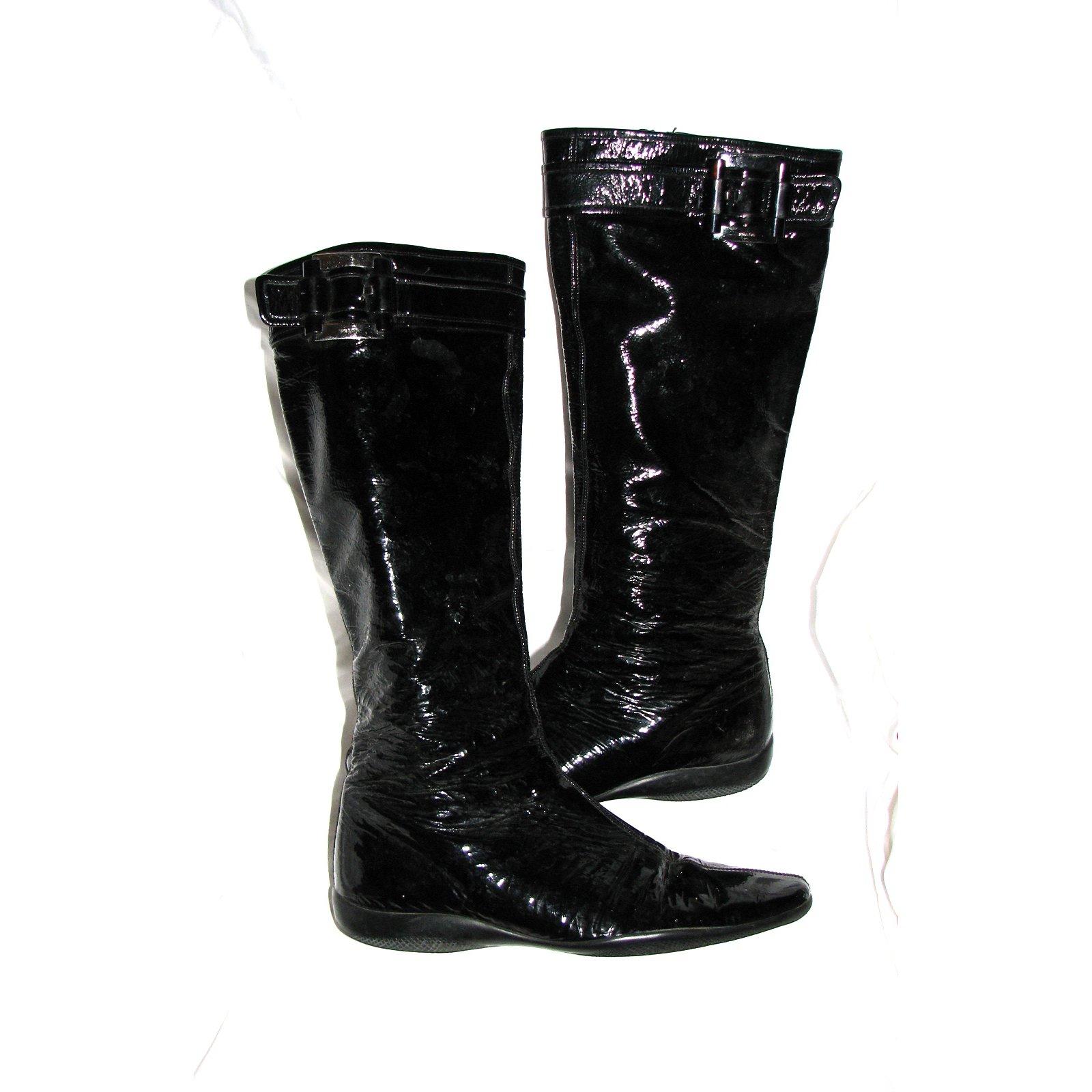 Prada Shiny black boots Boots Leather
