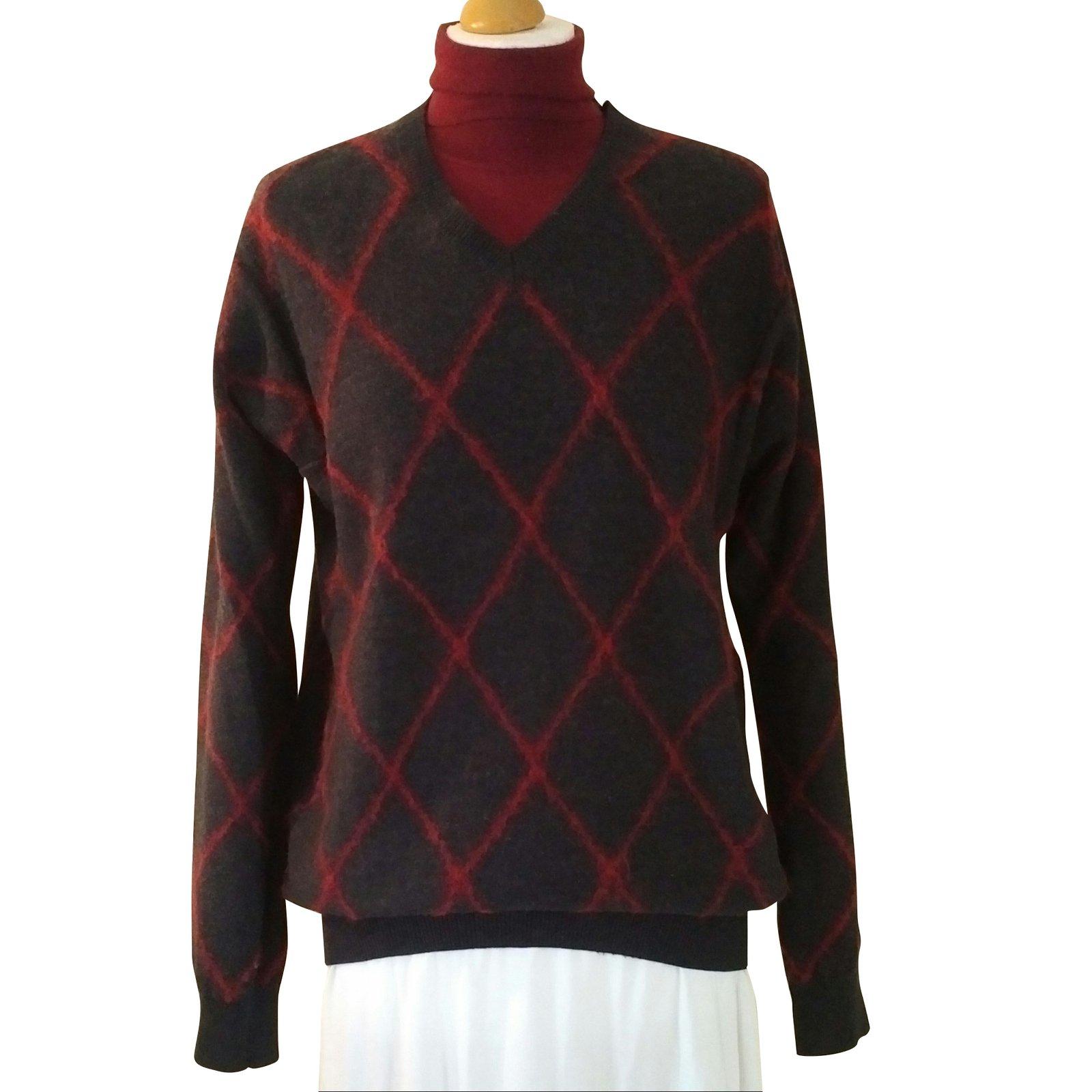 6716cee9fd461a Pringle Of Scotland Dark Grey Pringle Argyle Knitwear Wool Dark grey  ref.105459