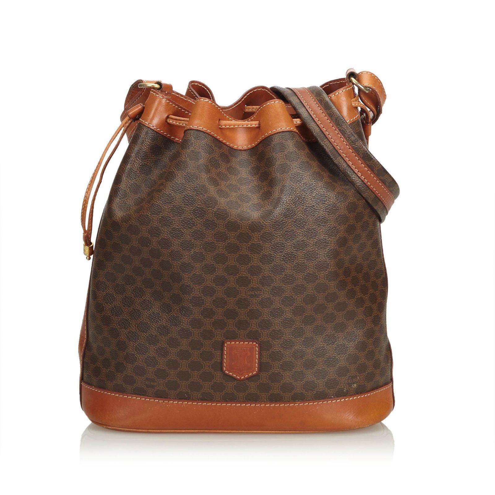 Céline Macadam Drawstring Bucket Bag Handbags Leather 9e06afad5bc78