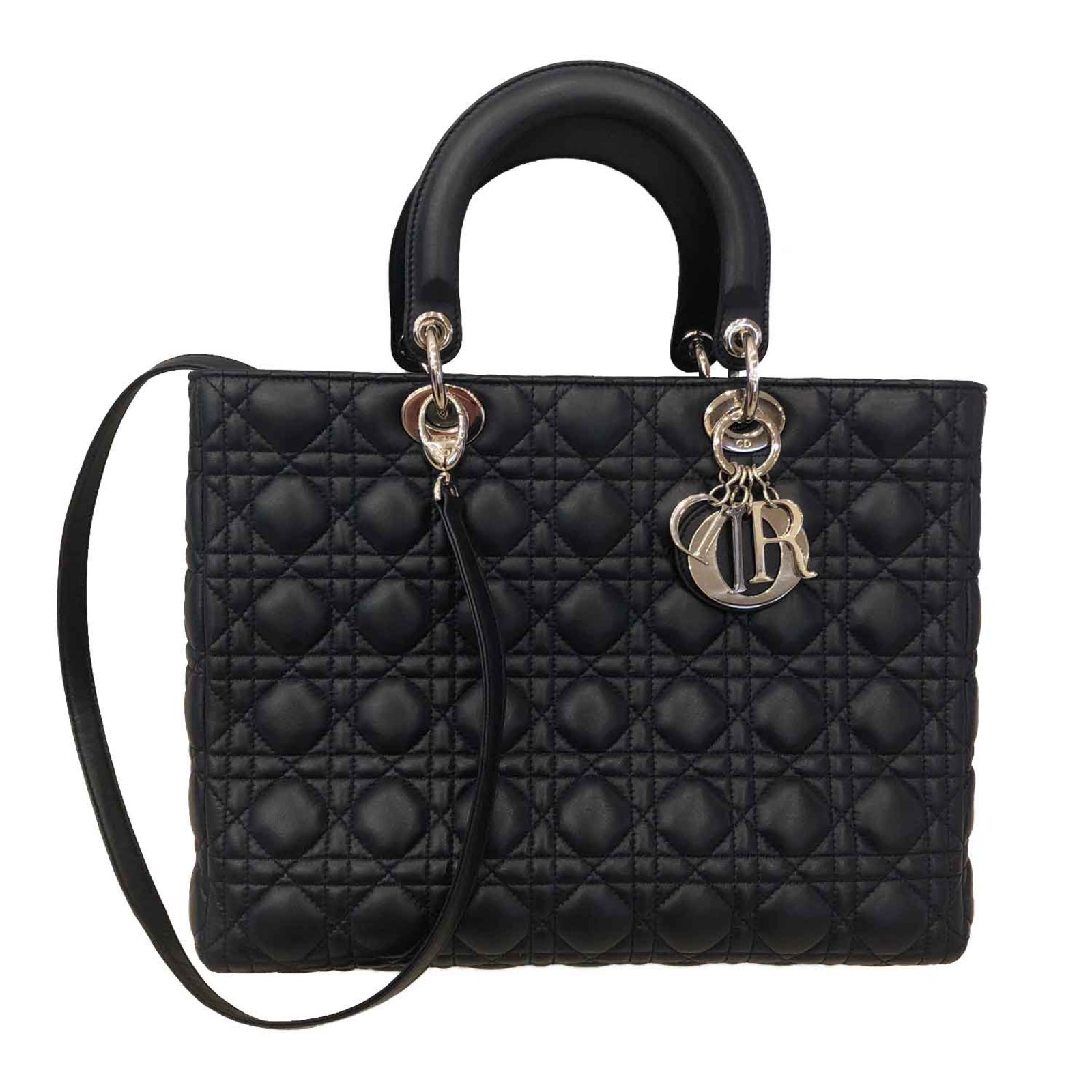 9970a36161d Christian Dior LADY DIOR Handbags Leather Navy blue ref.105889 ...