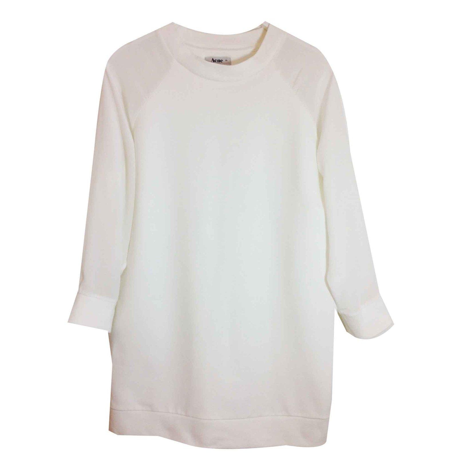 aba40aef2 Acne white cotton/silk sweatshirt Knitwear Silk,Cotton White ref.106683