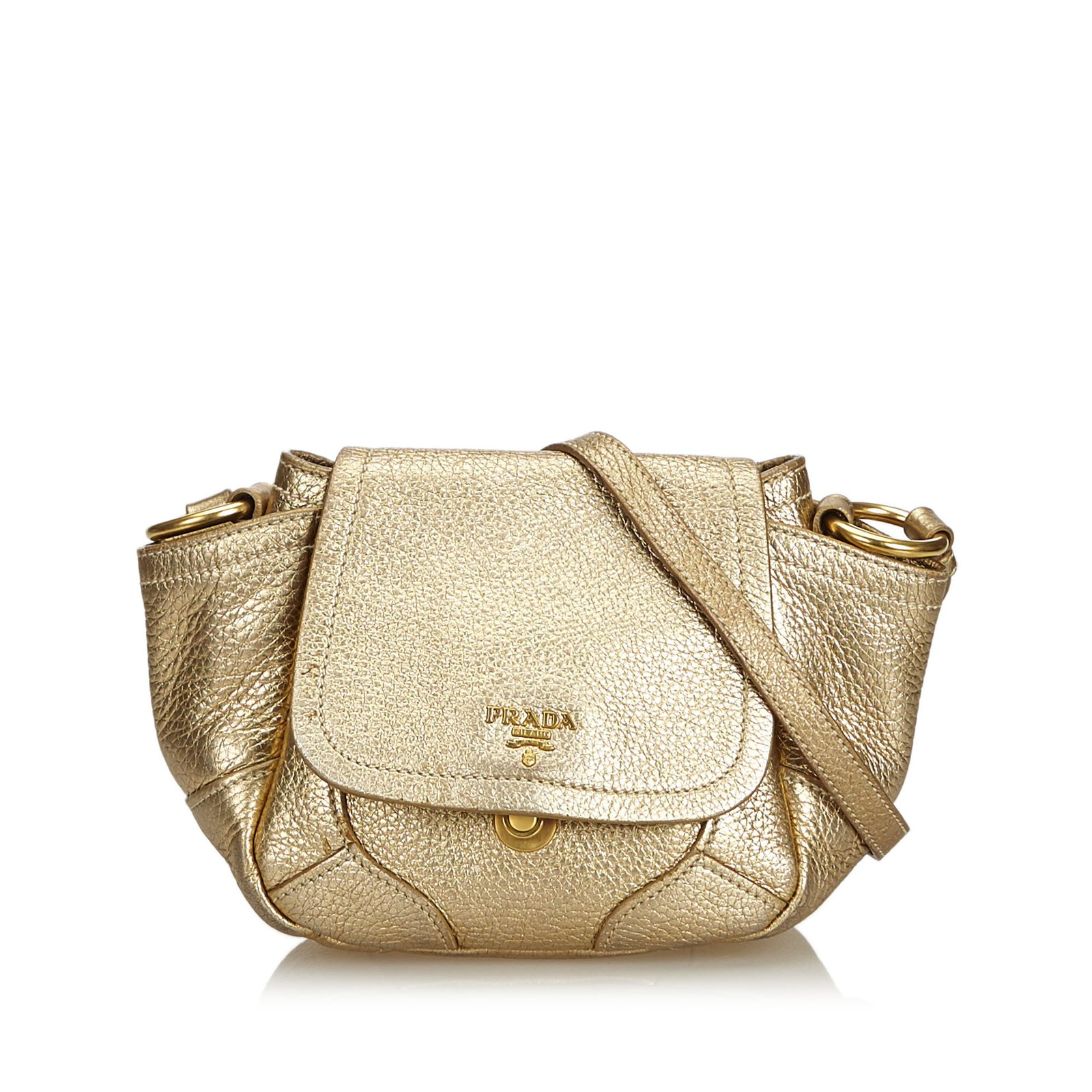 495bd64cf5b4 Prada Vitello Daino Bandoliera Crossbody Bag Handbags Leather,Other Golden  ref.106947