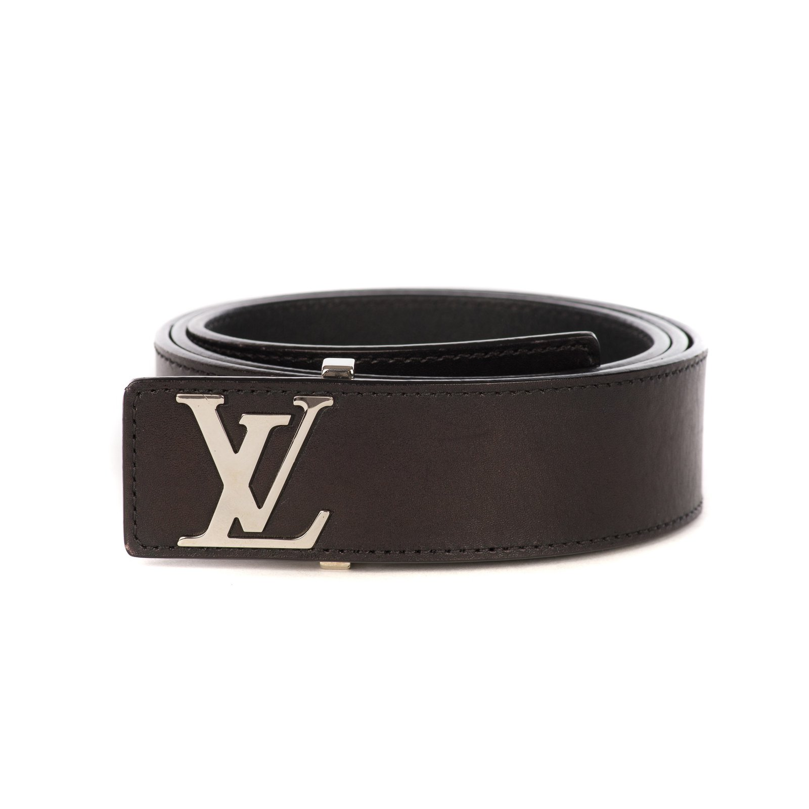 b12444379c51 Louis Vuitton Louis Vuitton belt in black leather and LV silver initials in  very good condition
