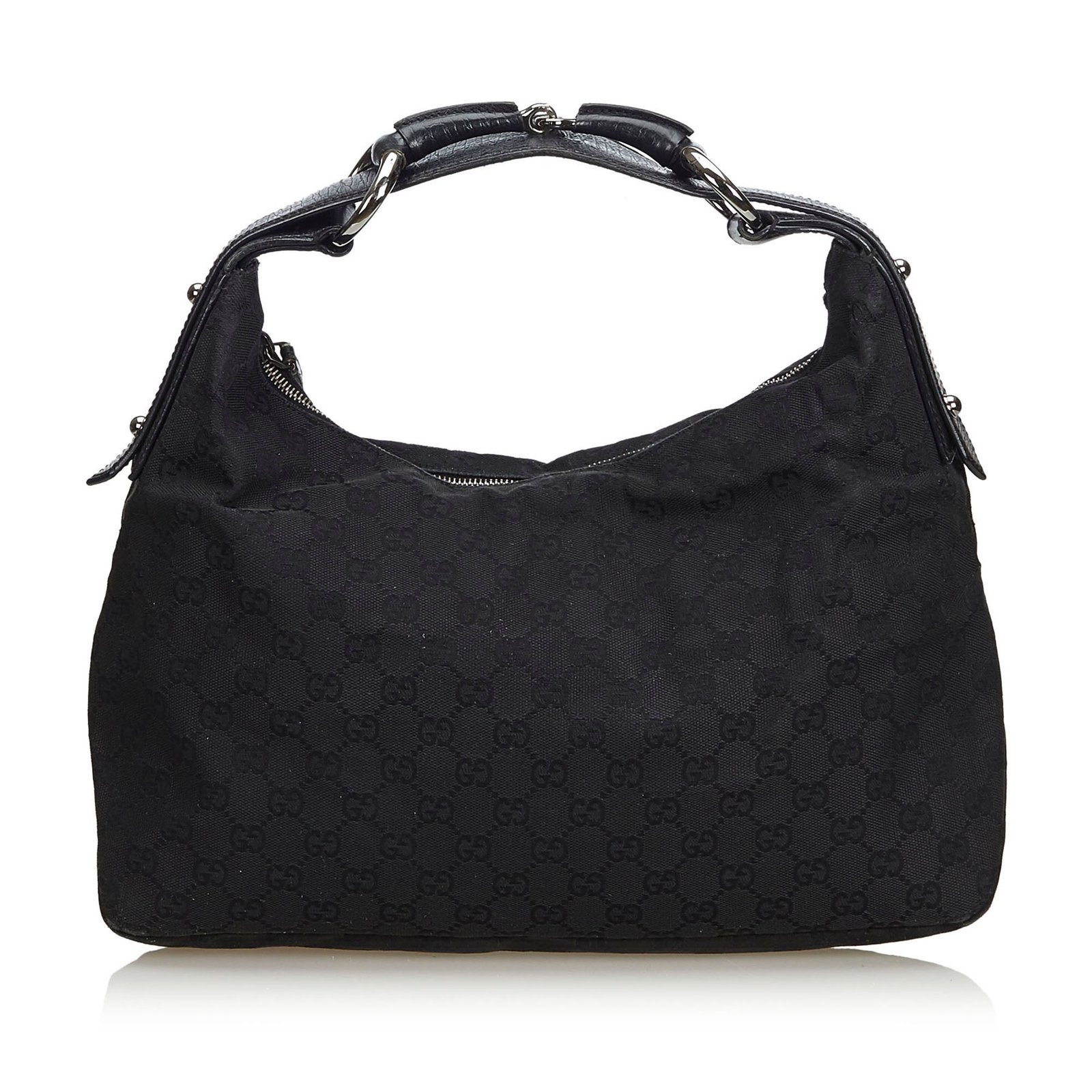 771300473 Gucci GG Jacquard Horsebit Hobo Bag Handbags Leather,Other,Cloth Black  ref.107225