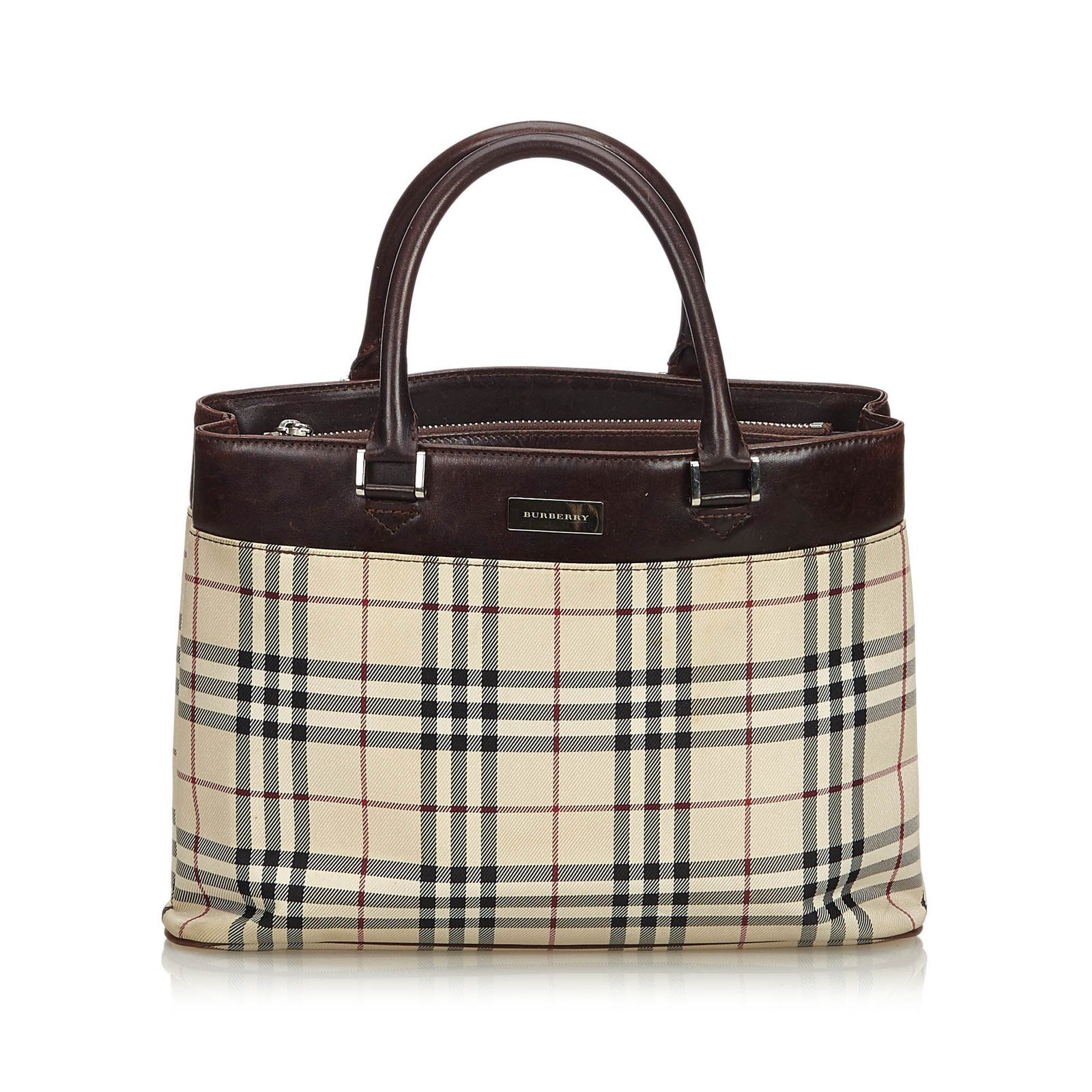 Burberry Plaid Canvas Handbag Handbags Leather 0e2e22e6f3d45