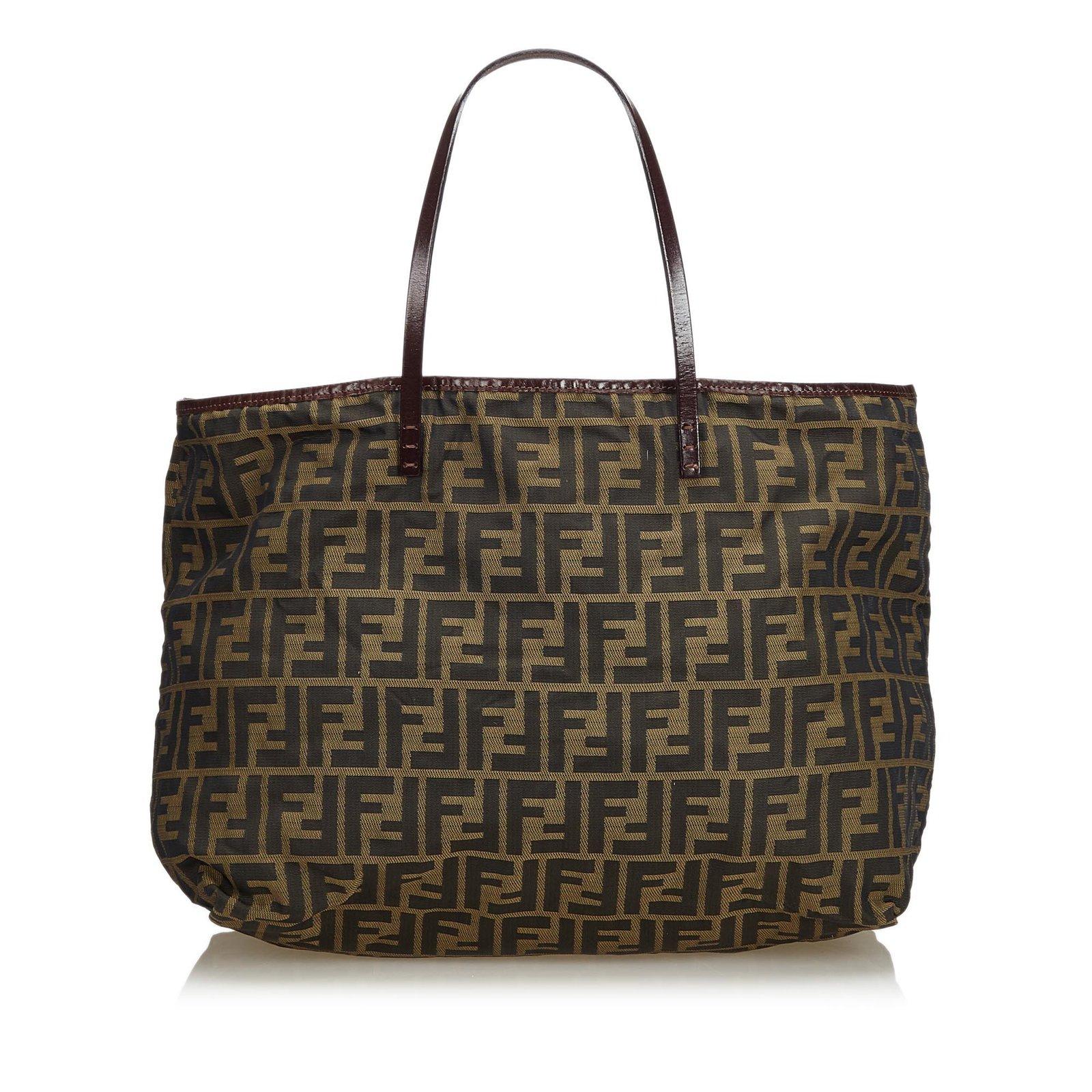 37a2a1b9a620 Fendi Zucca Jacquard Tote Bag Totes Leather