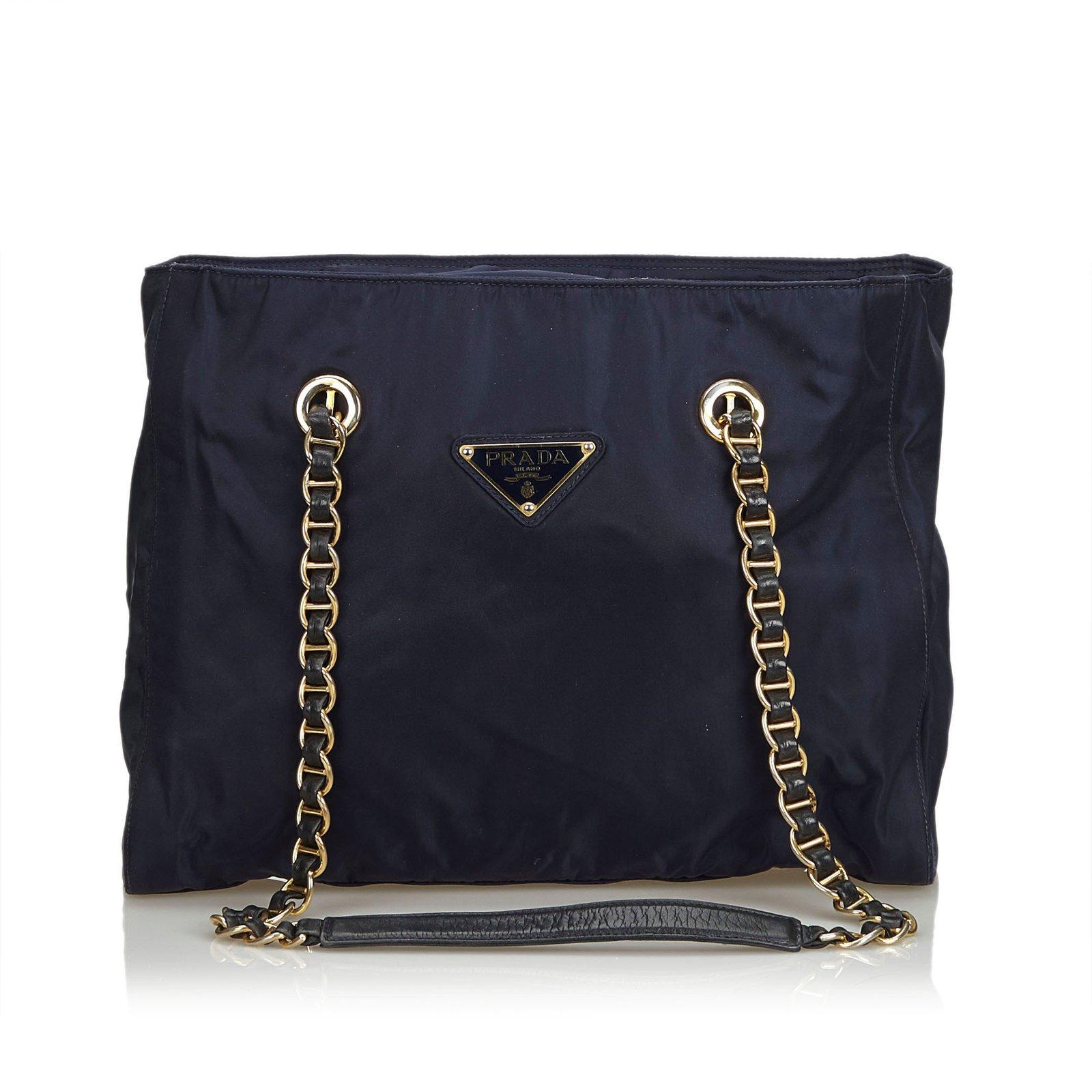 23e5f11a463b78 Prada Nylon Chain Tote Bag Totes Leather,Other,Nylon,Cloth Blue,Navy ...