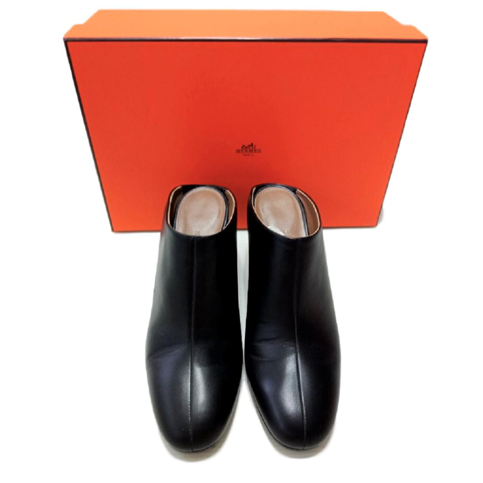 53e0e2d1c453 Hermès Hermes Black slip on wedge mules shoes Wedge mules Leather Black  ref.108774
