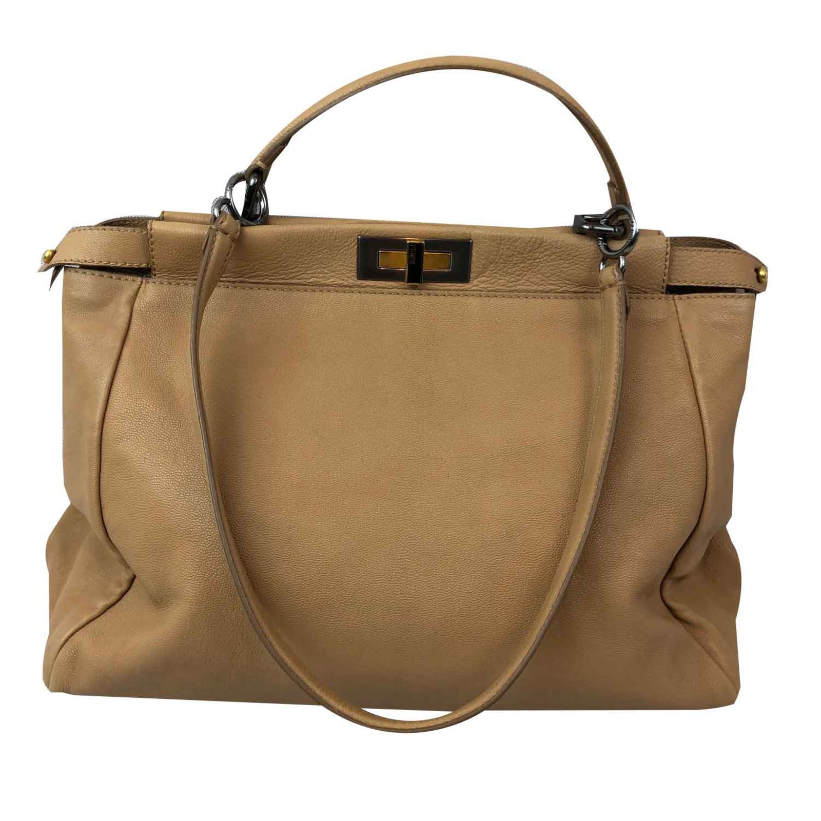 62a1378caeec Fendi PEEKABOO Handbags Leather Beige ref.108892 - Joli Closet