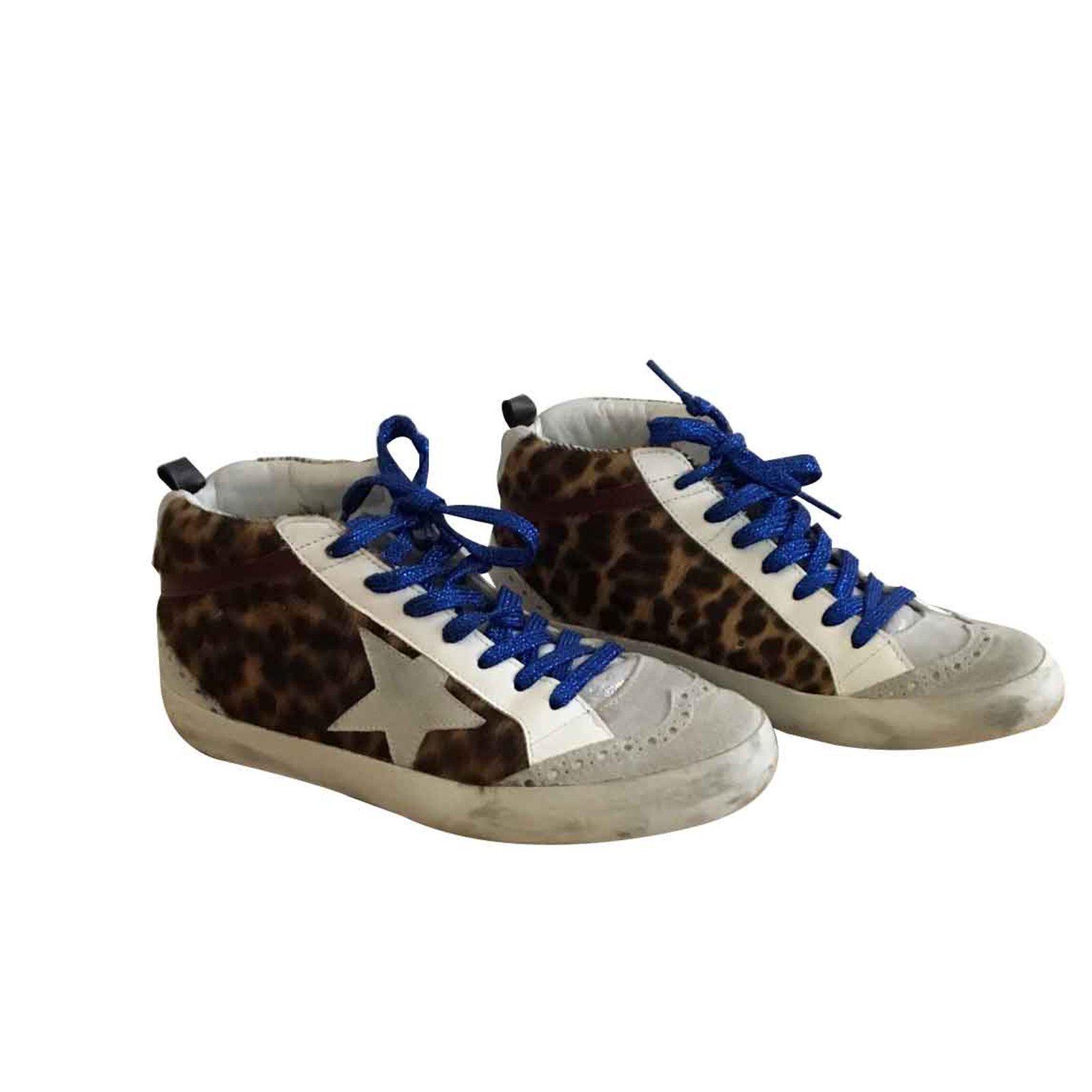 Baskets à imprimé léopard façon poulain Superstar   Golden