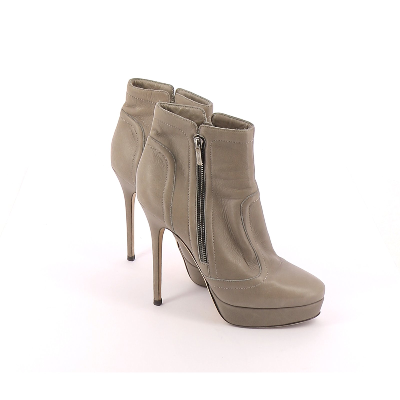 Low Boots Ankle Boots Leather Grey ref