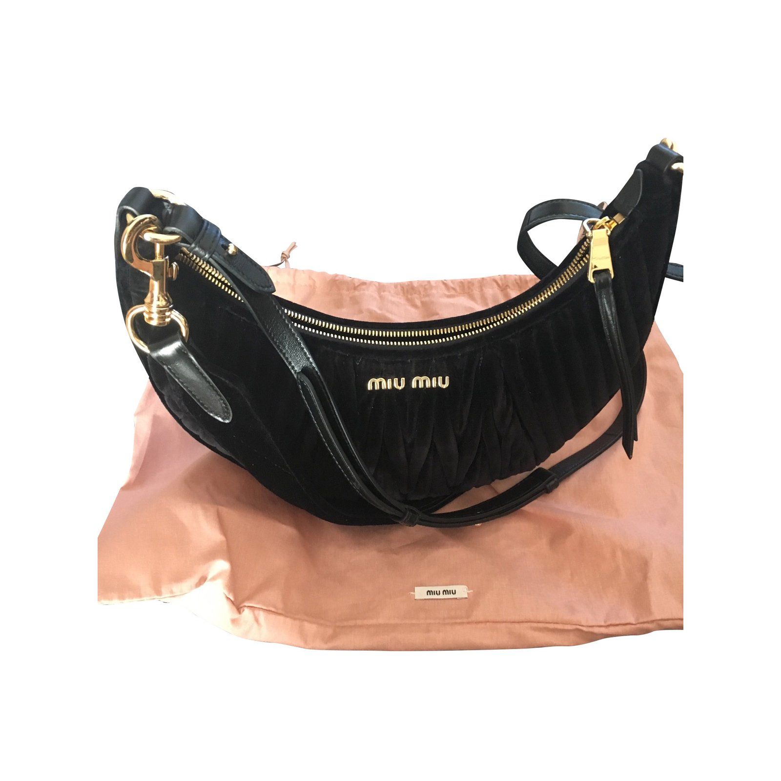 48d73aa14517 Miu Miu Banana Handbags Velvet Black ref.110453 - Joli Closet