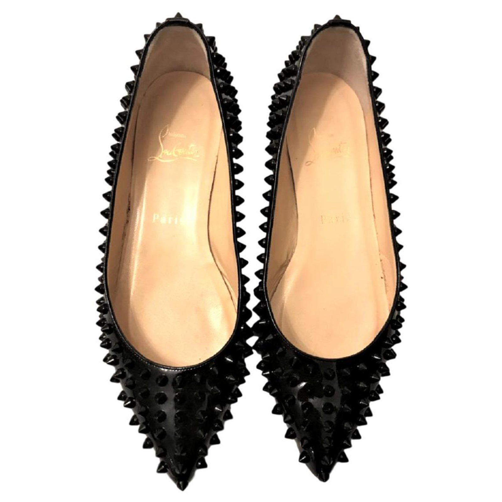 promo code 10b01 d933e Christian Louboutin Black Patent Pigalle spiked flats EU38