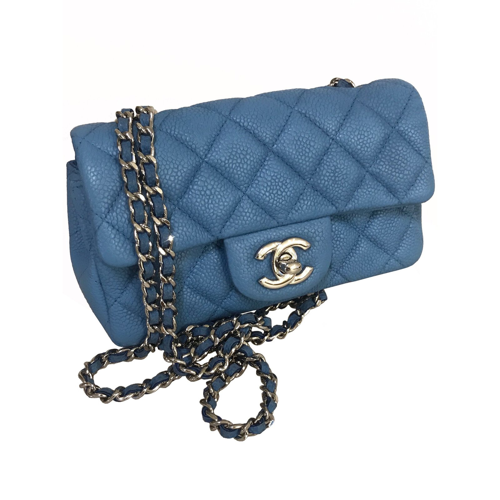1f13d63bedab Chanel caviar timeless classic flap handbags leather light blue ref jpg  1600x1600 Mini flap timeless classic