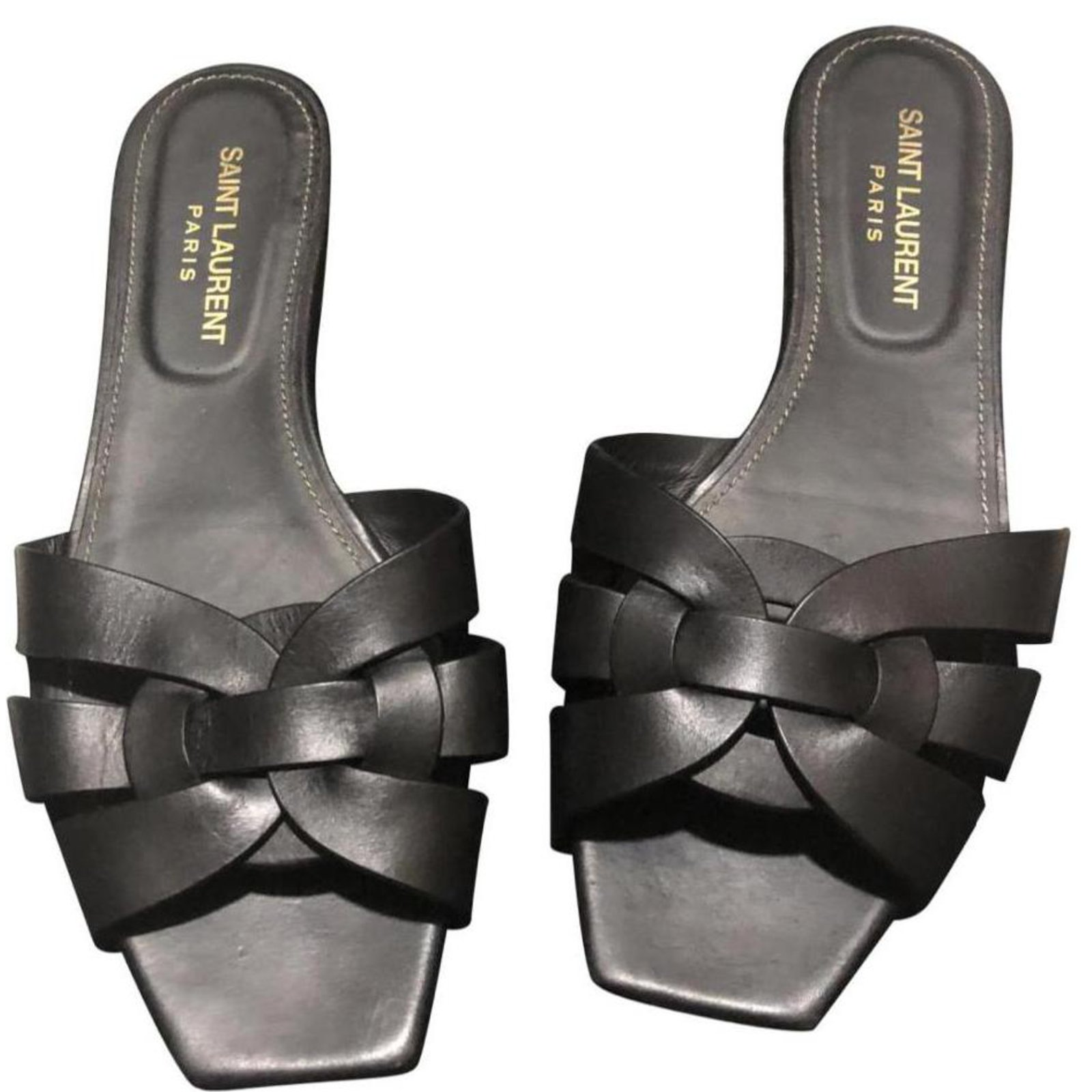 60854f429f9 Yves Saint Laurent TRIBUTE Sandals Leather Black ref.111950 - Joli ...