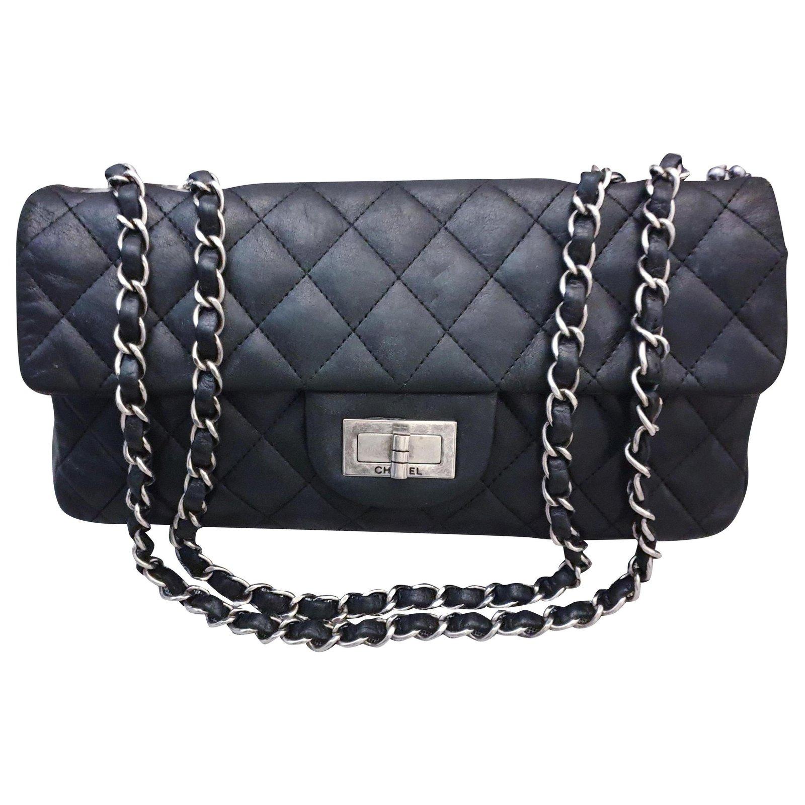 94fdbdf1cde357 Chanel Chanel Reissue chanel bag 2.55 Handbags Leather Black,Metallic  ref.111971