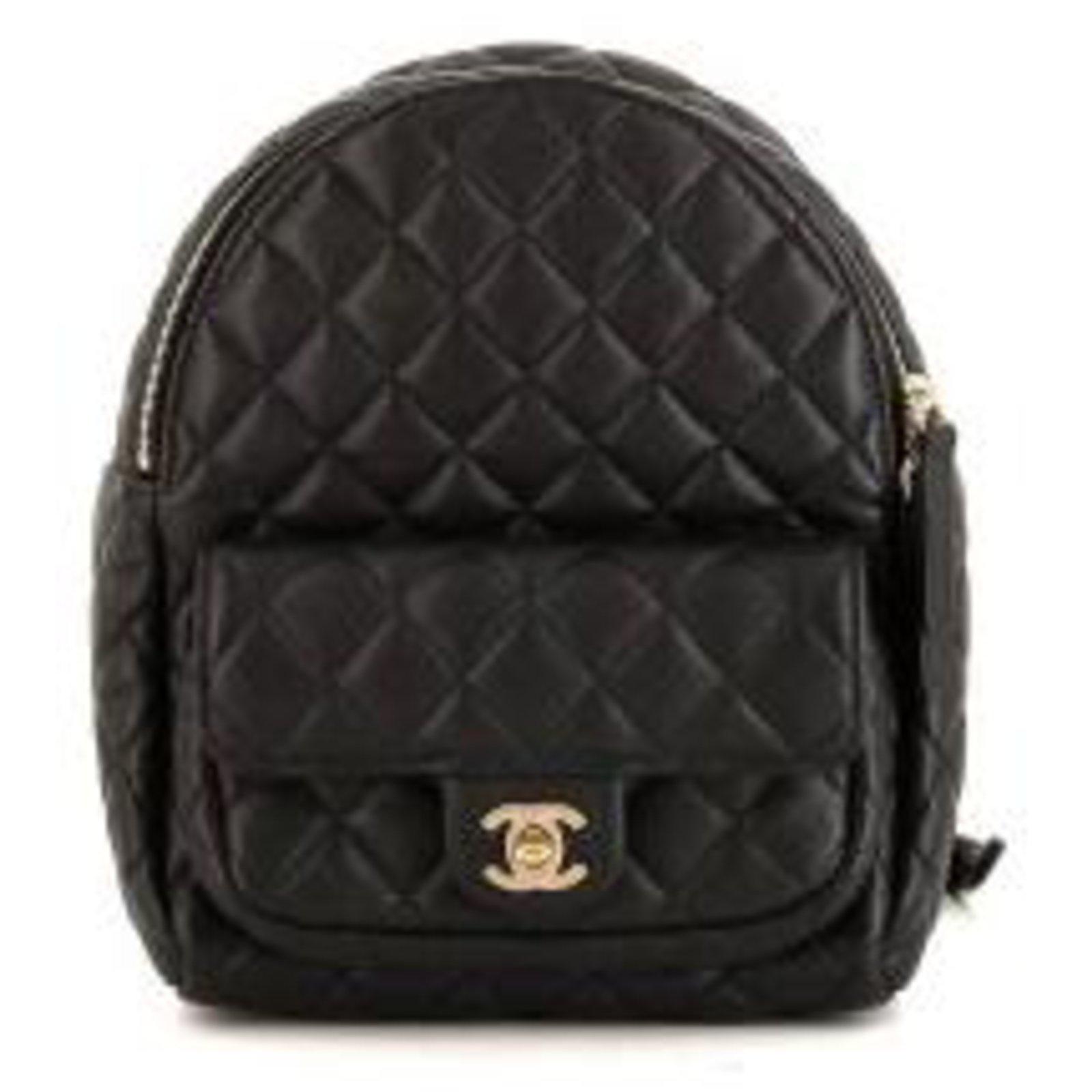 Chanel Chanel Leather Backpack Backpacks Leather Black ref.112626 ... 06aff8ca78cd3