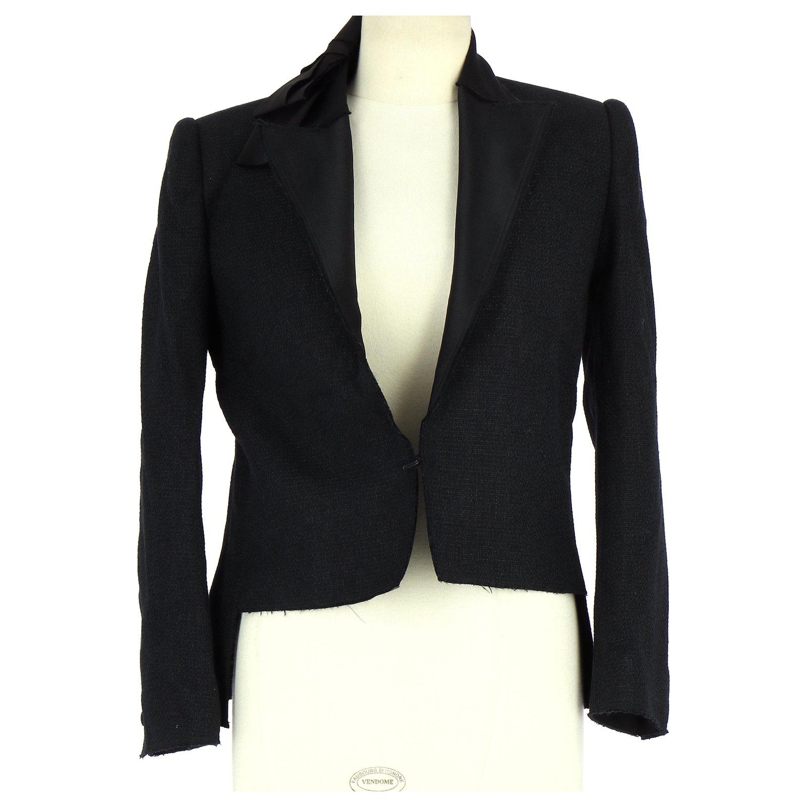 Vestes Lanvin Veste Blazer Coton Noir ref.112703 Joli Closet