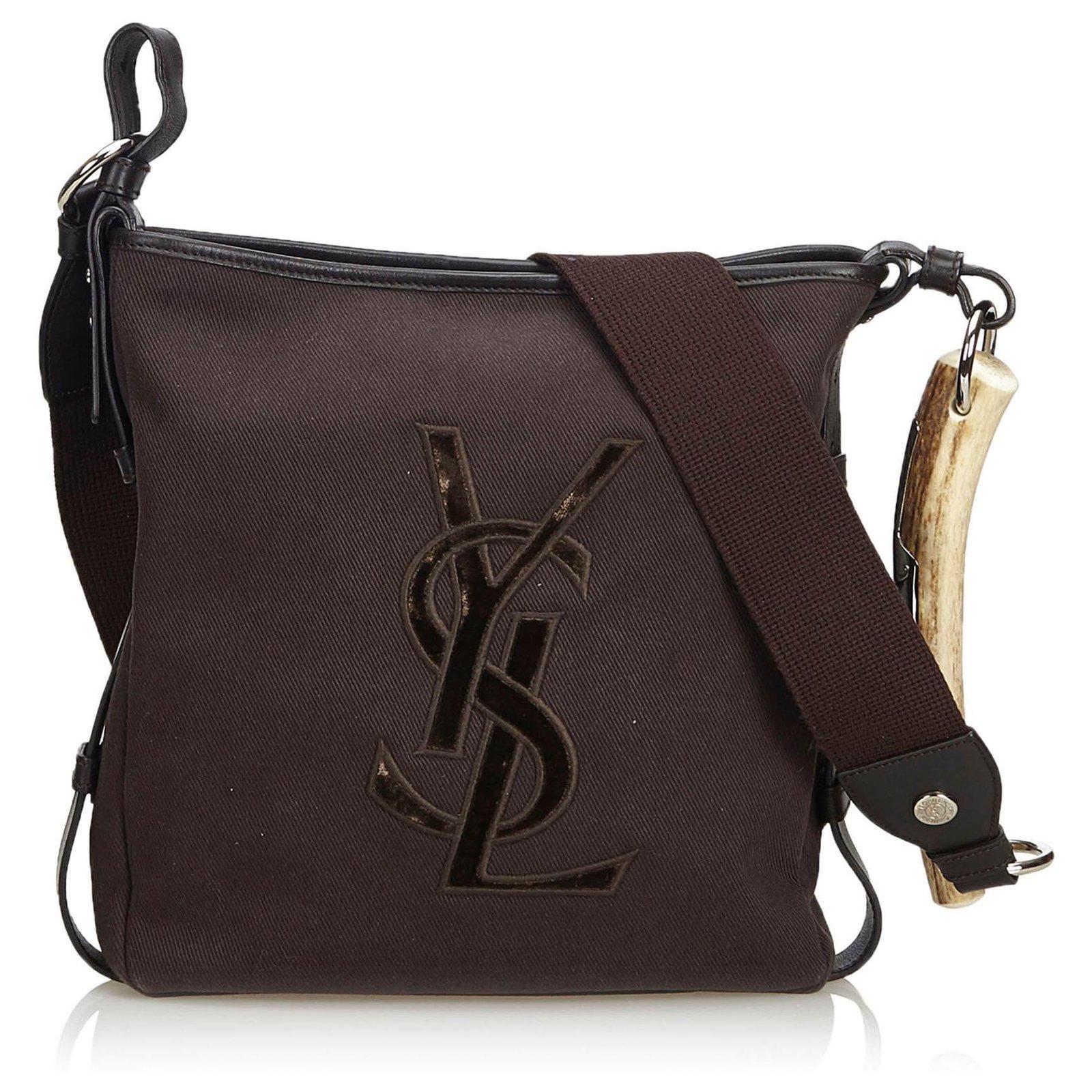 d96ec5953cc Yves Saint Laurent Mombasa Canvas Crossbody Bag Handbags Leather,Other,Cloth ,Cloth Brown