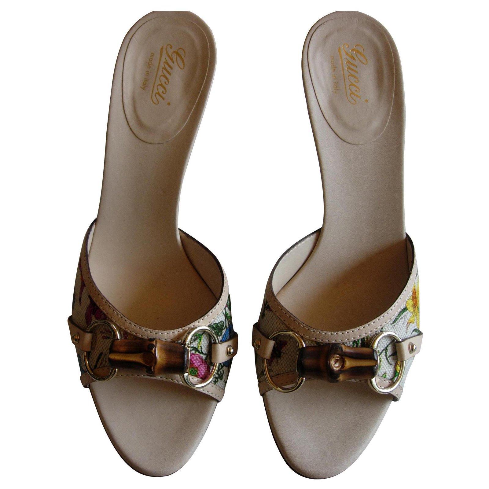 b3d43923471 Gucci Gucci Flora bamboo Mules Leather