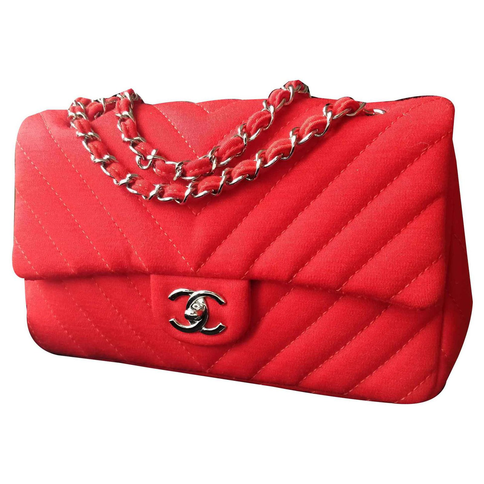 ddf040c4da55ca Chanel Timeless classic flap bag chevron Handbags Cloth Red ref.113395