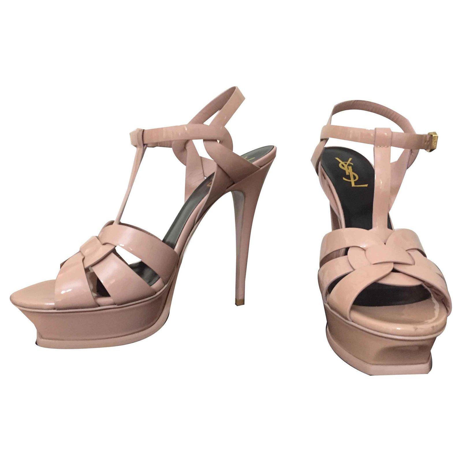 a011fb57d22 Yves Saint Laurent Tribute in patent leather Sandals Leather Pink ref.113686