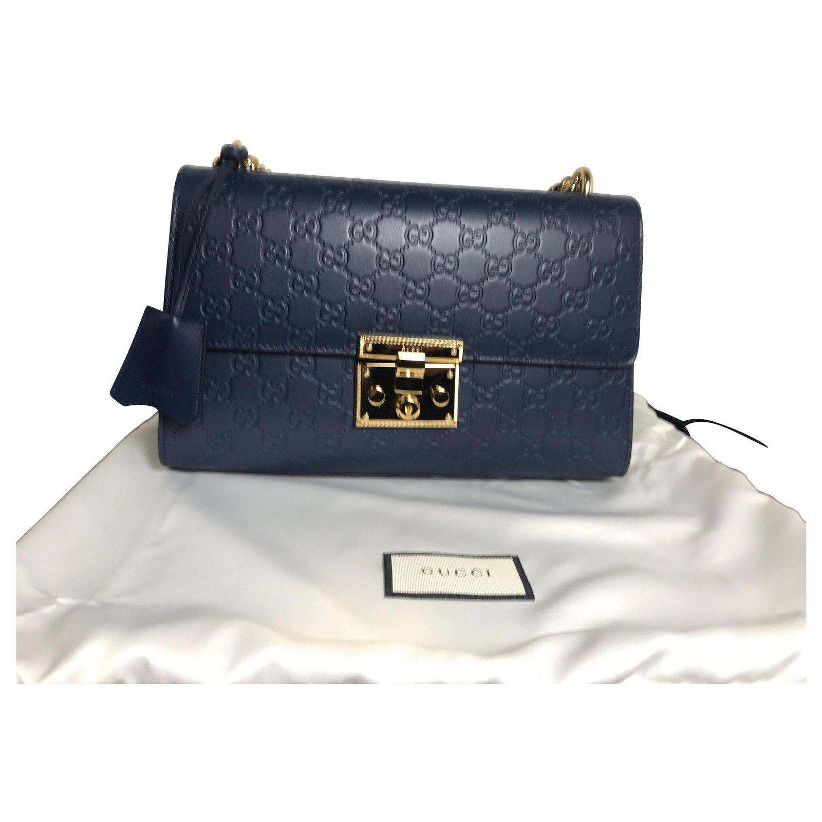 dcea44f586d Gucci Gucci padlock medium bag sac Handbags Leather Blue ref.113973 ...