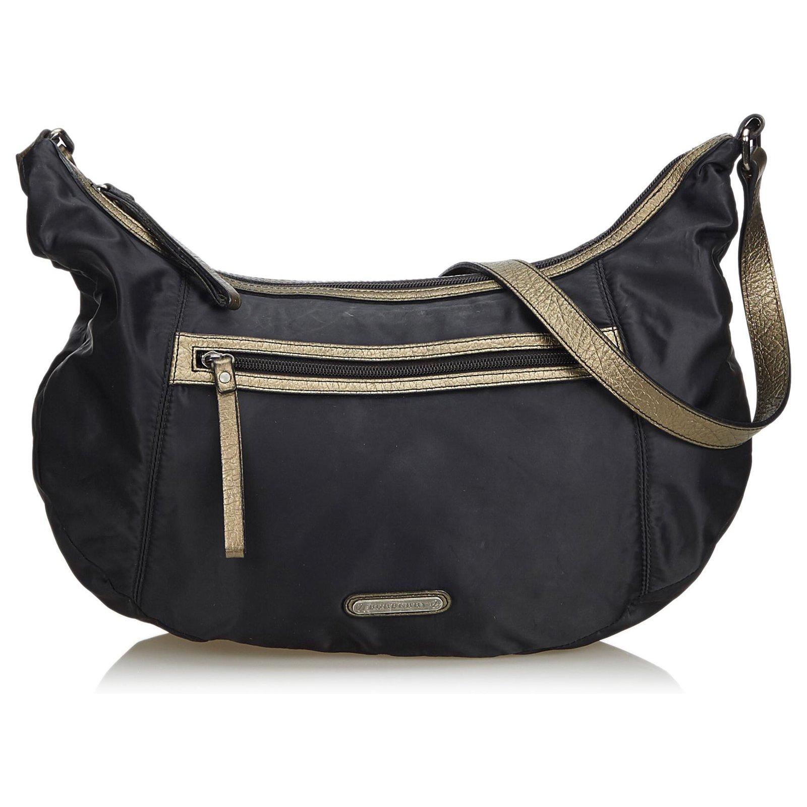 273dd5c91 Burberry Nylon Hobo Bag Handbags Leather,Other,Nylon,Cloth Black,Golden ref