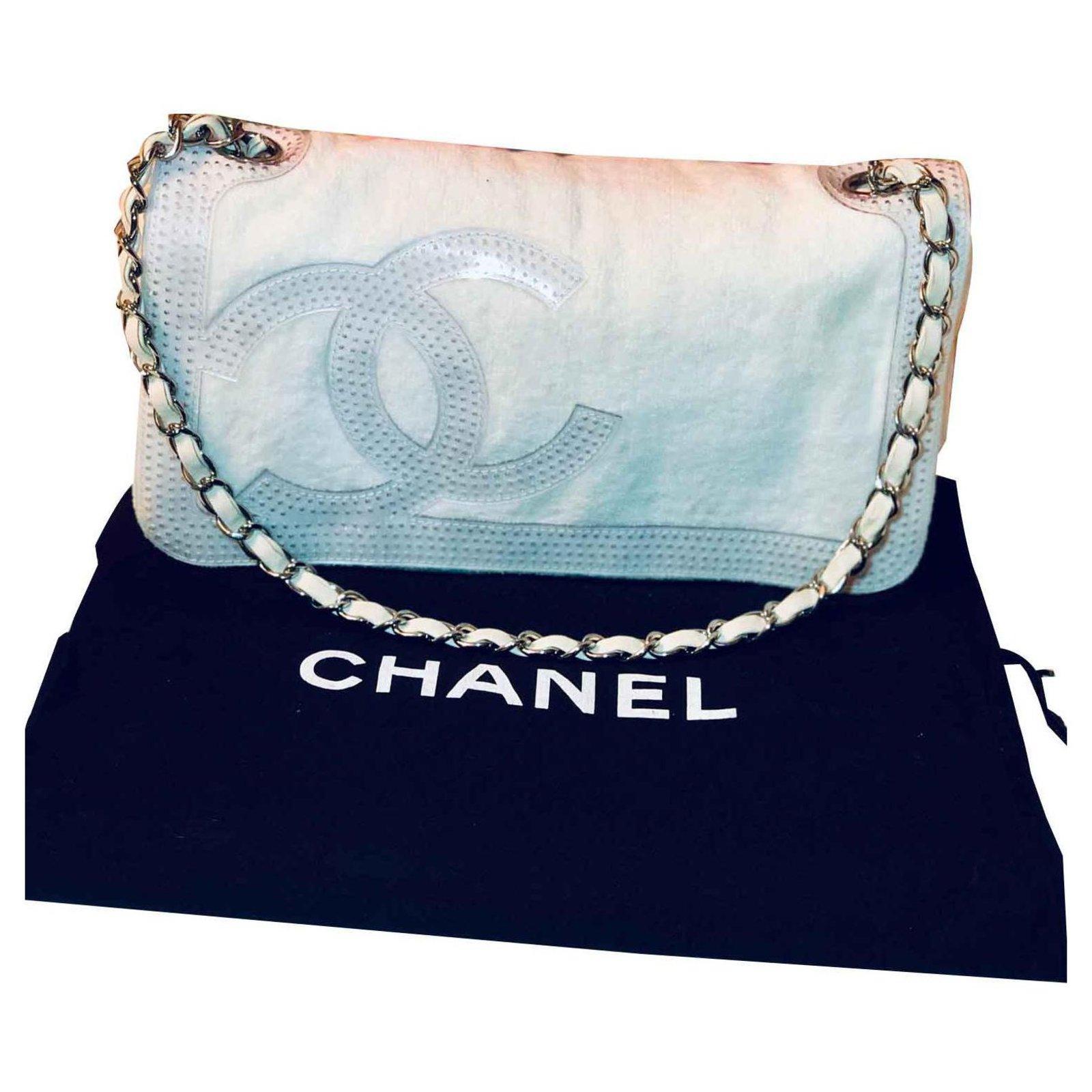 2a5c1c312768a8 Chanel Chanel handbag Handbags Plastic,Cloth White ref.115599 - Joli ...