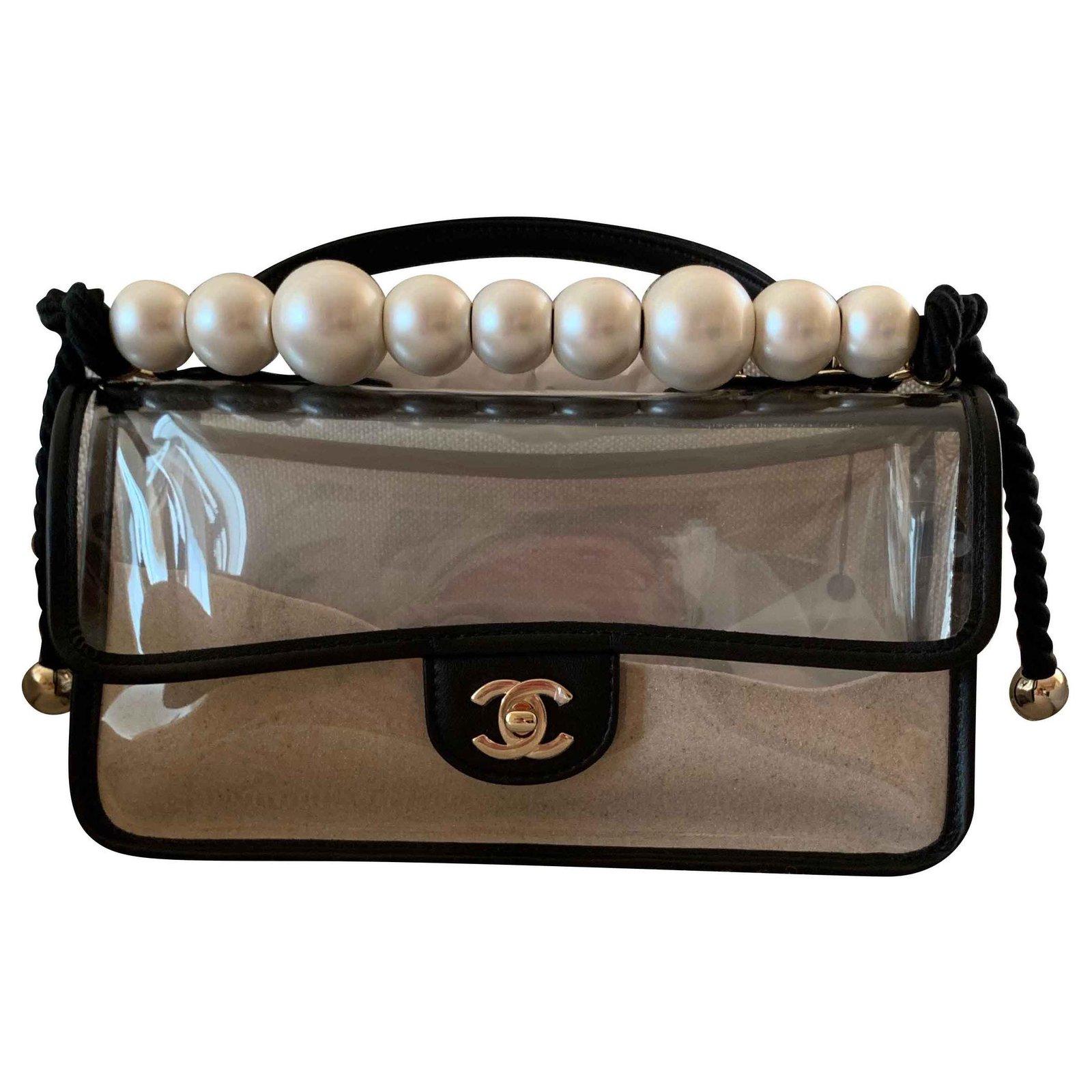 8ad395ddacef Chanel Coco Sand PVC Flap Bag Handbags Plastic Black ref.117203 ...