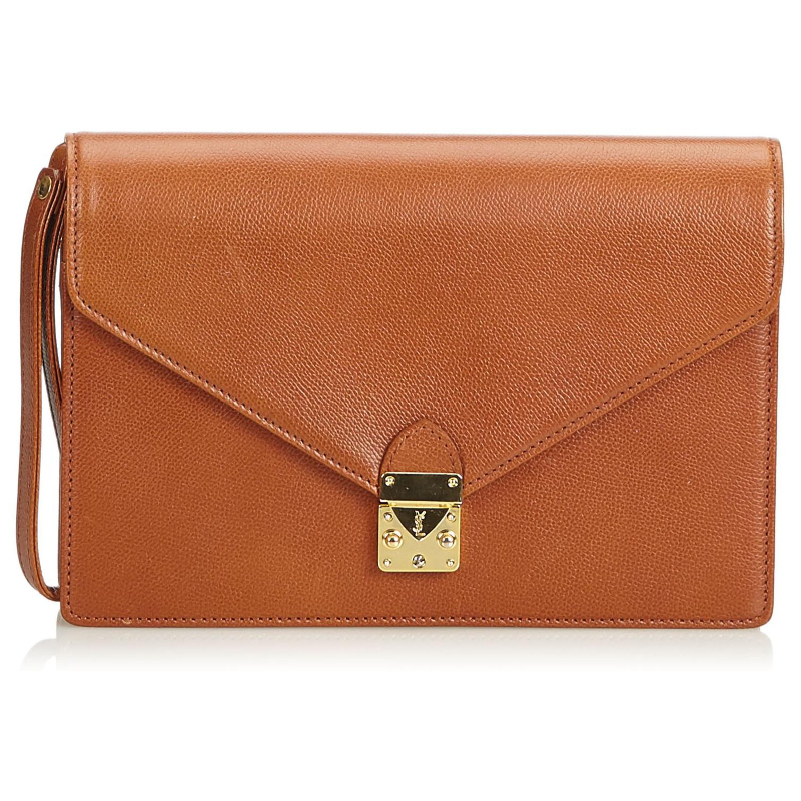afc2a2dabfc Autre Marque YSL Brown Leather Clutch Bag Clutch bags Leather,Other Brown  ref.117462