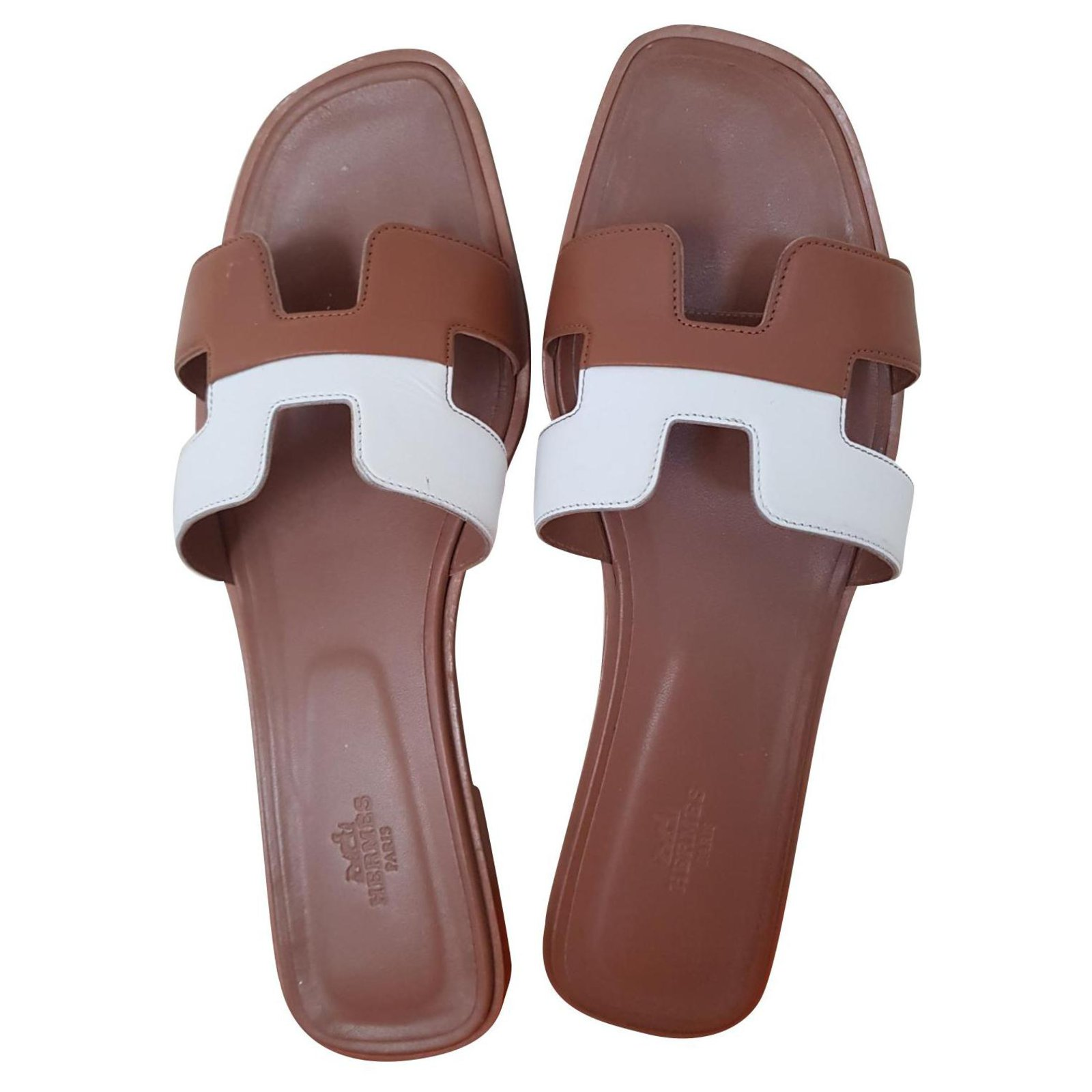 Hermès Oran Hermes Gold / White Sandals