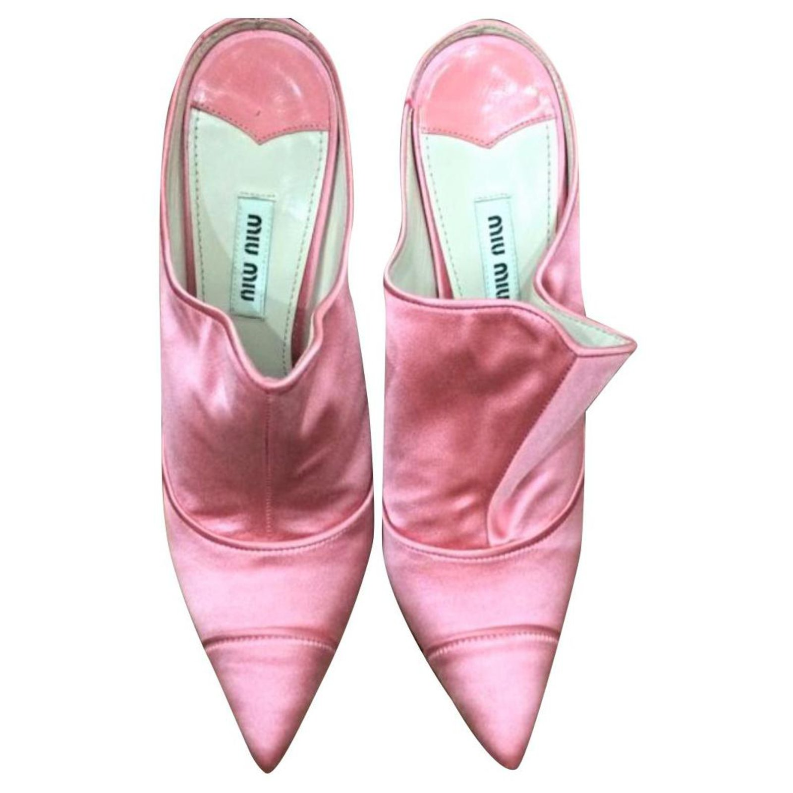 Miu Miu Miu Miu Pink satin mules heels