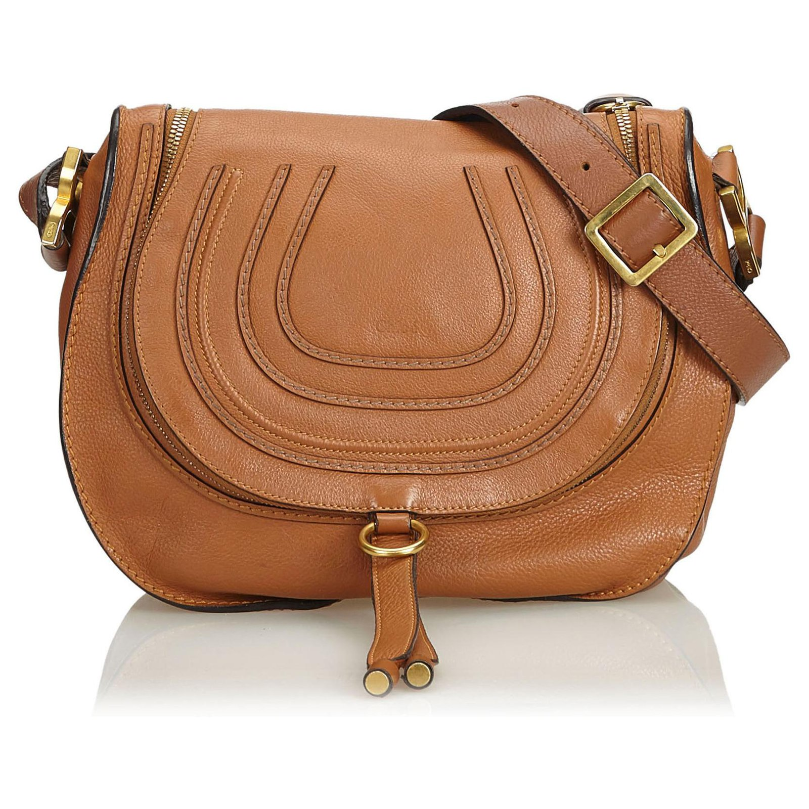 469bdd7a8de Chloé Chloe Brown Leather Marcie Crossbody Bag Handbags Leather,Other Brown,Light  brown ref