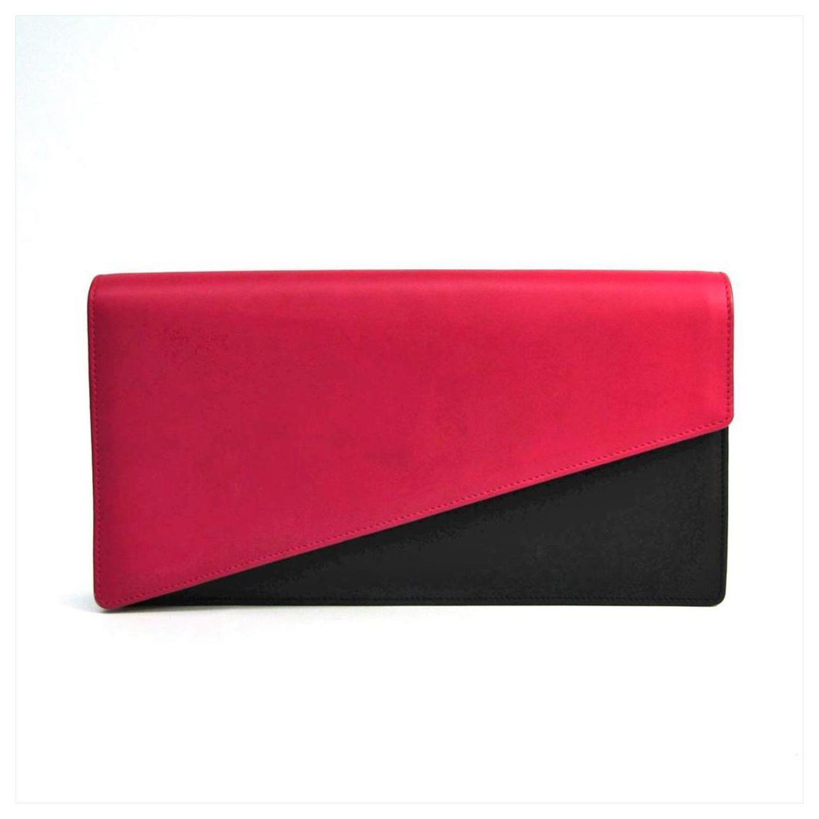 69fbf45e933 Yves Saint Laurent YSL Black Bi-color Leather Clutch Clutch bags  Leather,Pony-