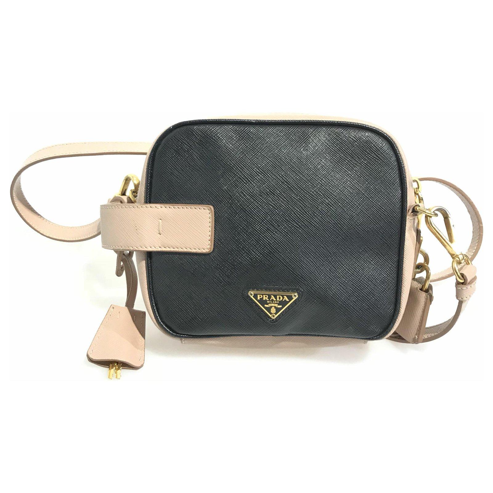 b12d4ead777b Prada Prada Black Bi-color Saffiano Mini Crossbody Handbags  Leather,Pony-style calfskin