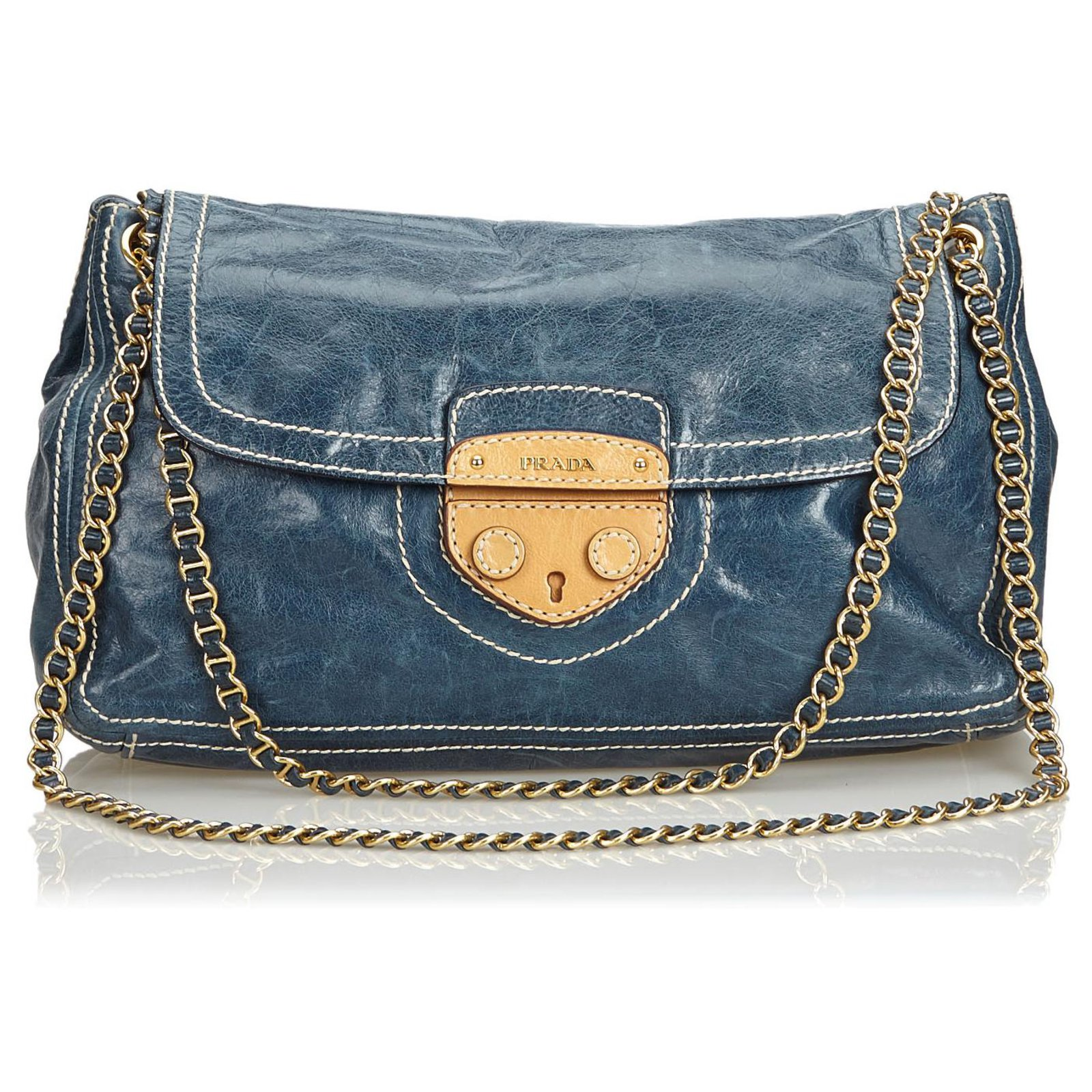 a867abb01b6e47 Prada Prada Blue Leather Chain Shoulder Bag Handbags Leather,Other Brown, Blue,Light
