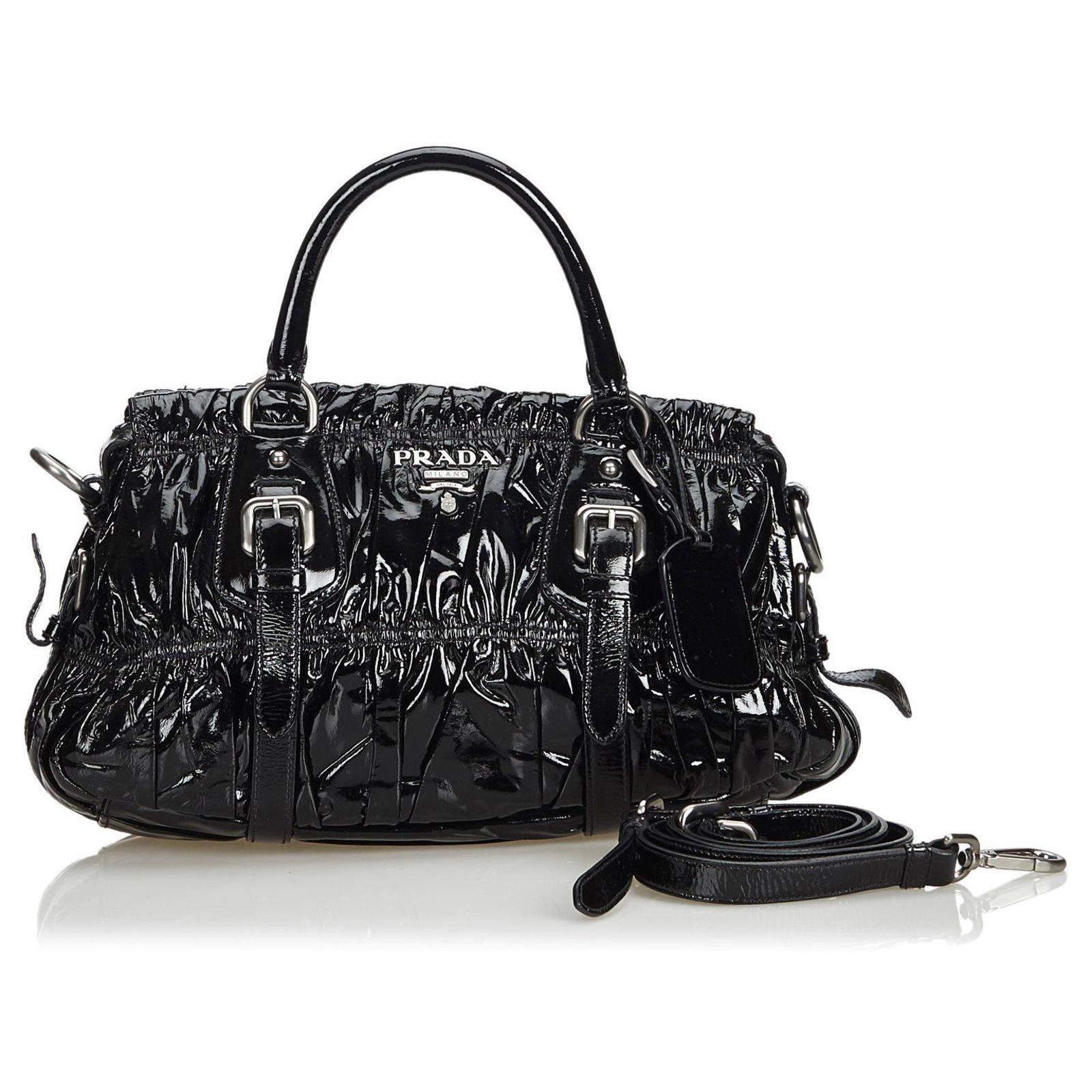 bf6cc0440a2a Prada Prada Black Gathered Patent Leather Satchel Handbags Leather,Patent  leather Black ref.119489