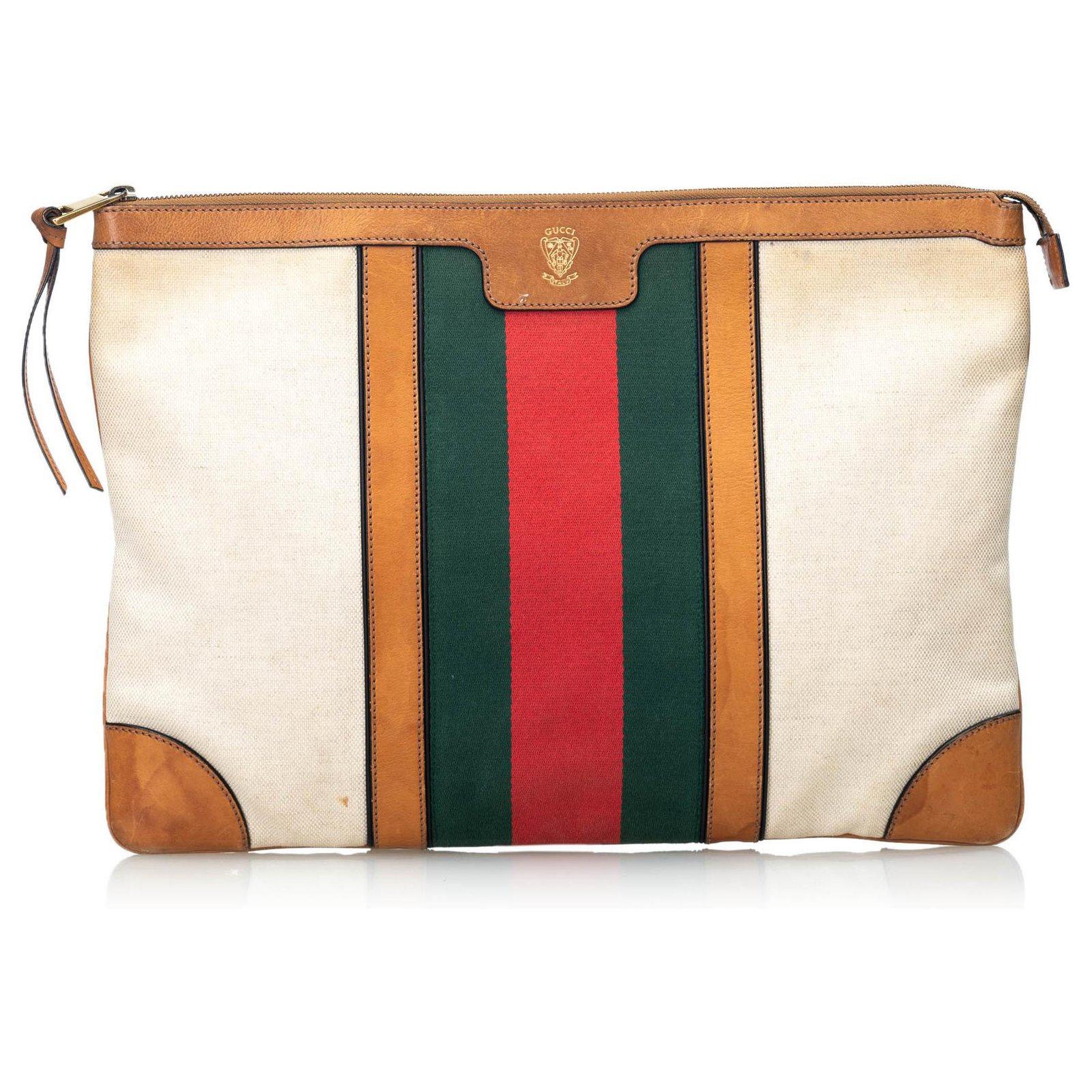 0fd9ab5f3fd Gucci Gucci White Web Canvas Portfolio Clutch Bag Clutch bags  Leather